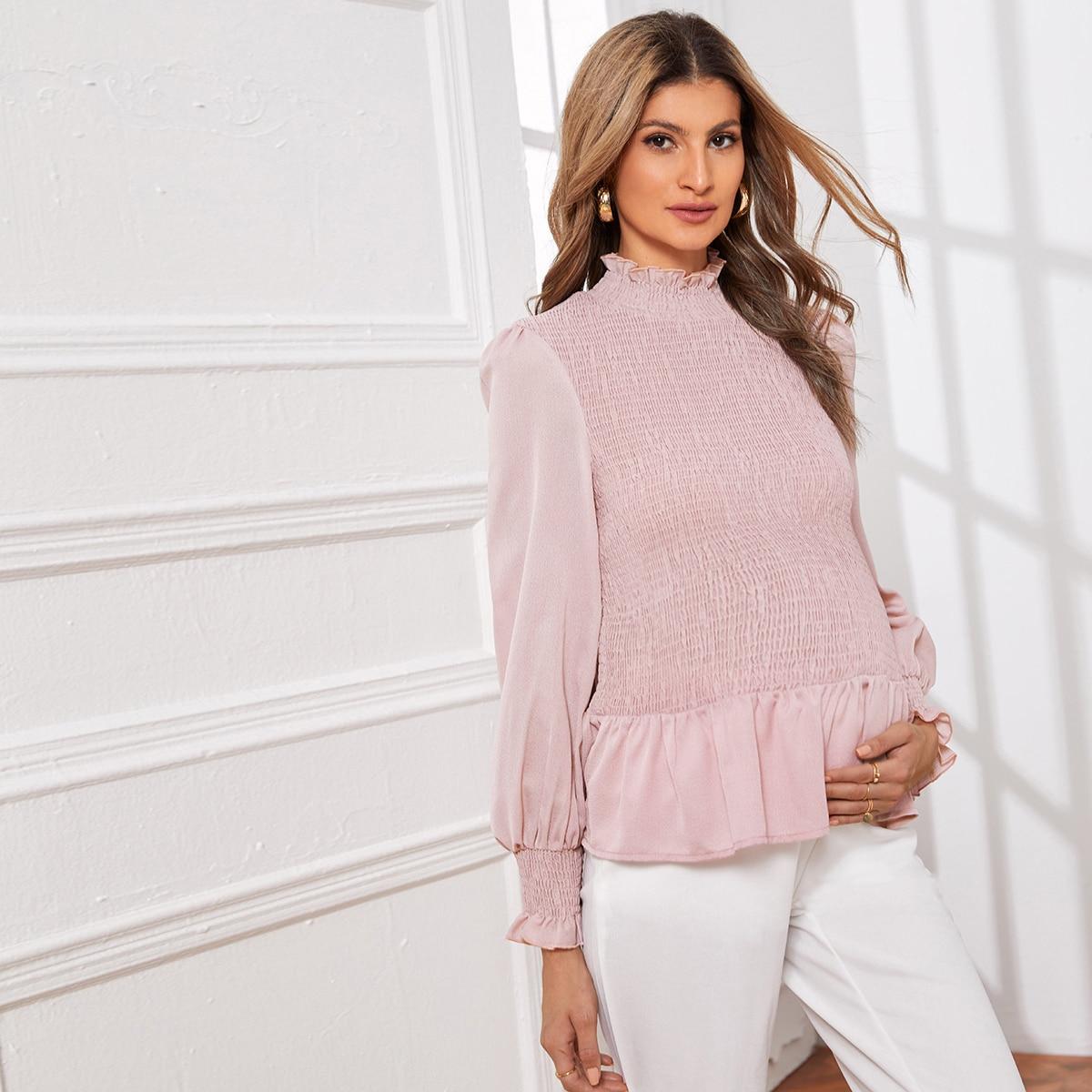 С оборками одноцветный элегантный блузы для беременных
