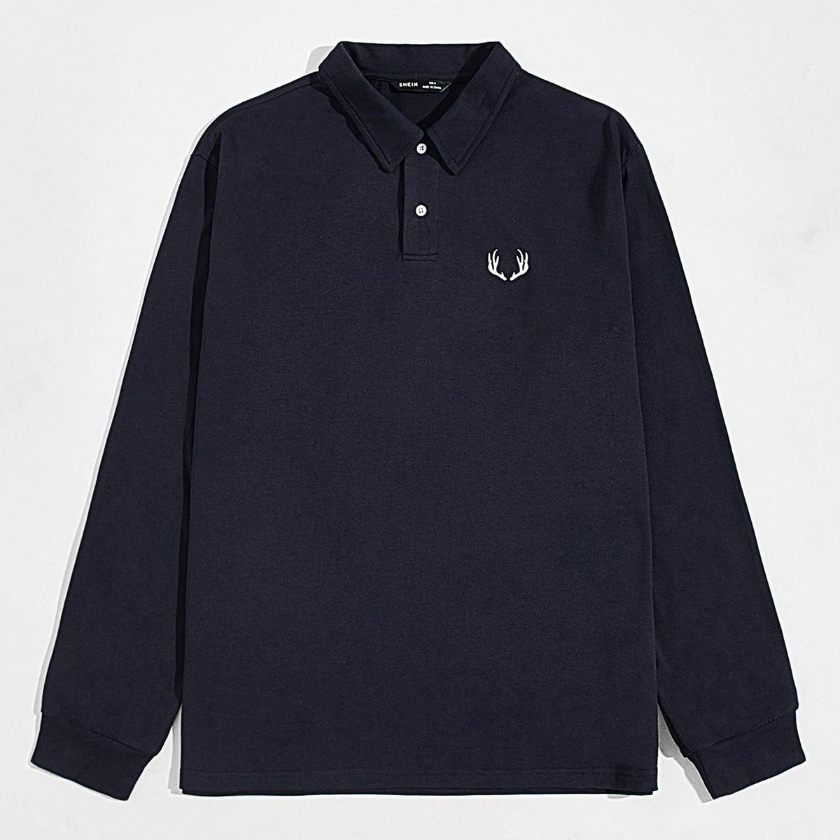Пуговица графический повседневный мужская рубашка-поло