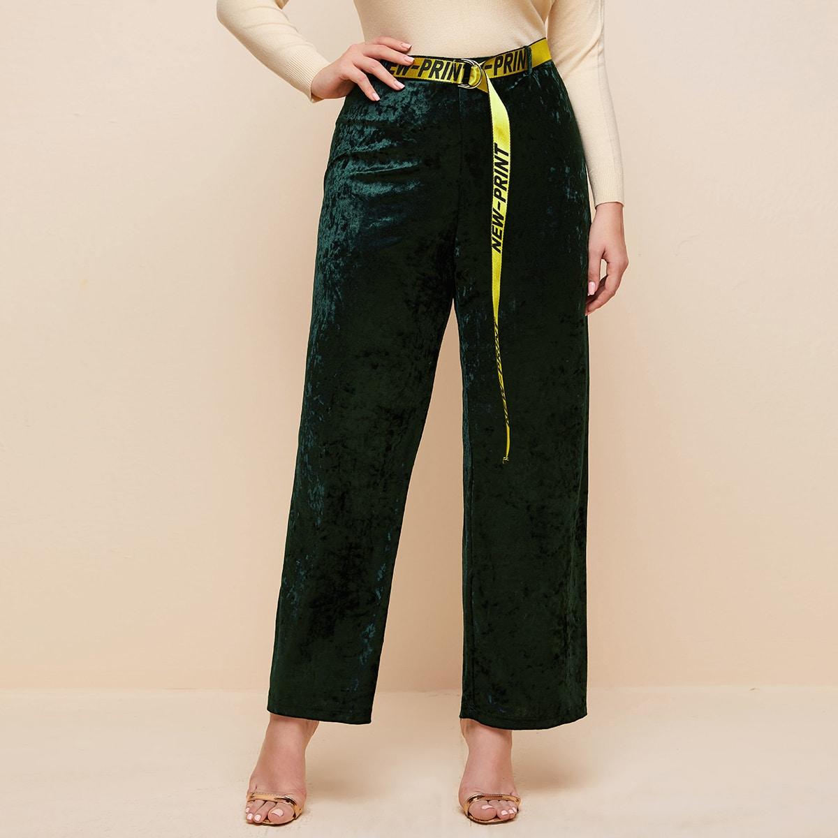 Бархатные широкие брюки размера плюс с поясом