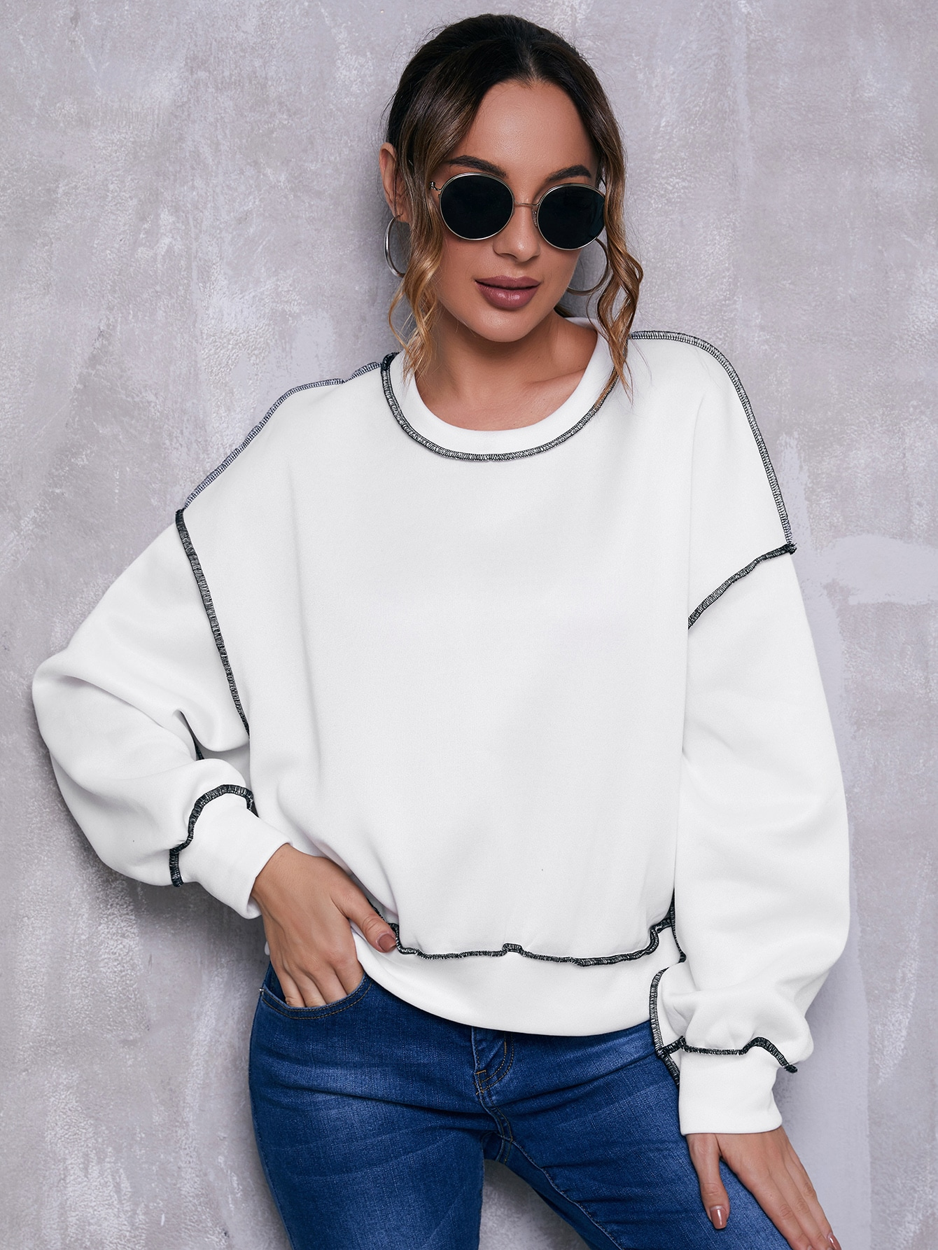 Drop Shoulder Contrast Stitch Pullover thumbnail