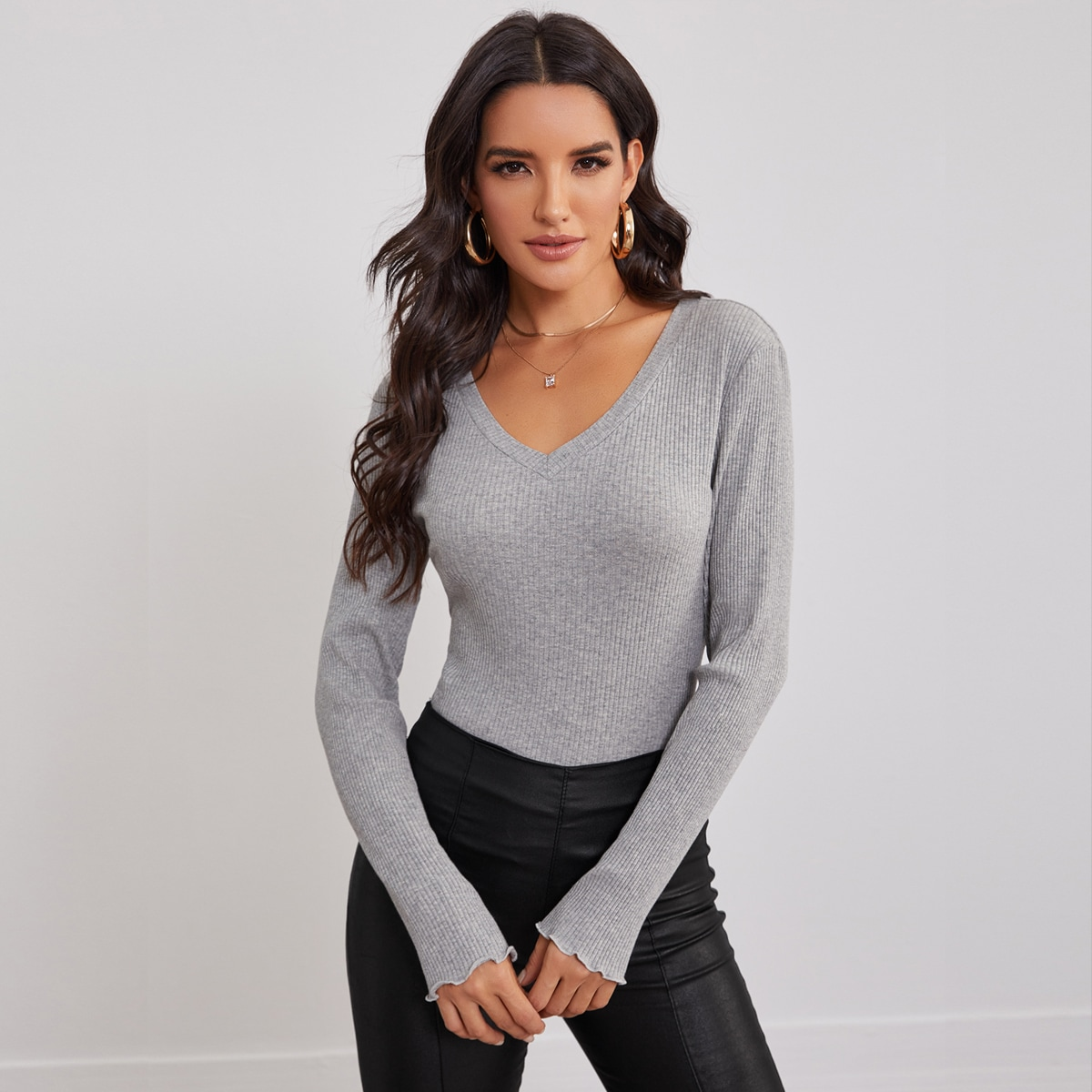 V Neck Rib-knit Fitted Top