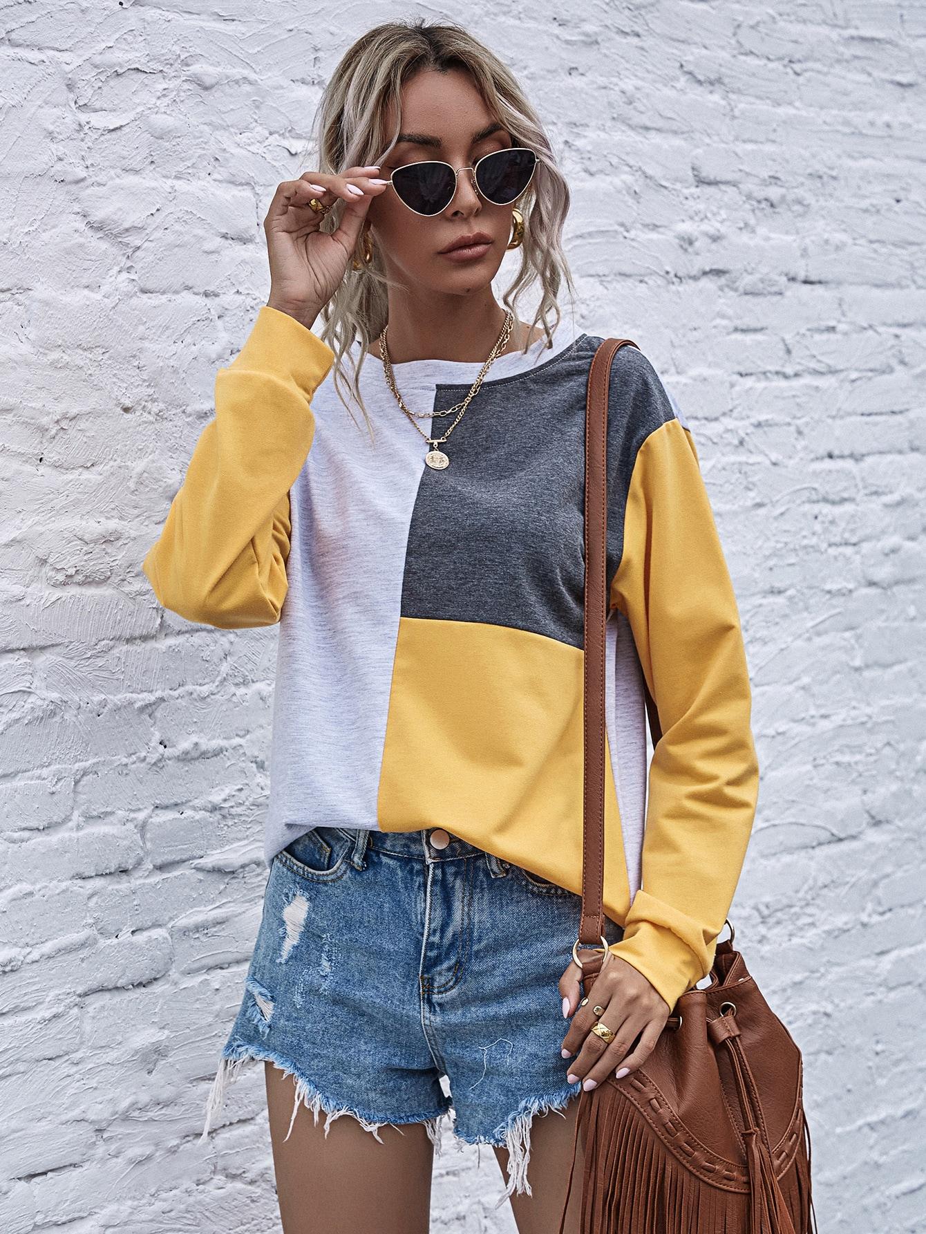 Drop Shoulder Colorblock Sweatshirt thumbnail