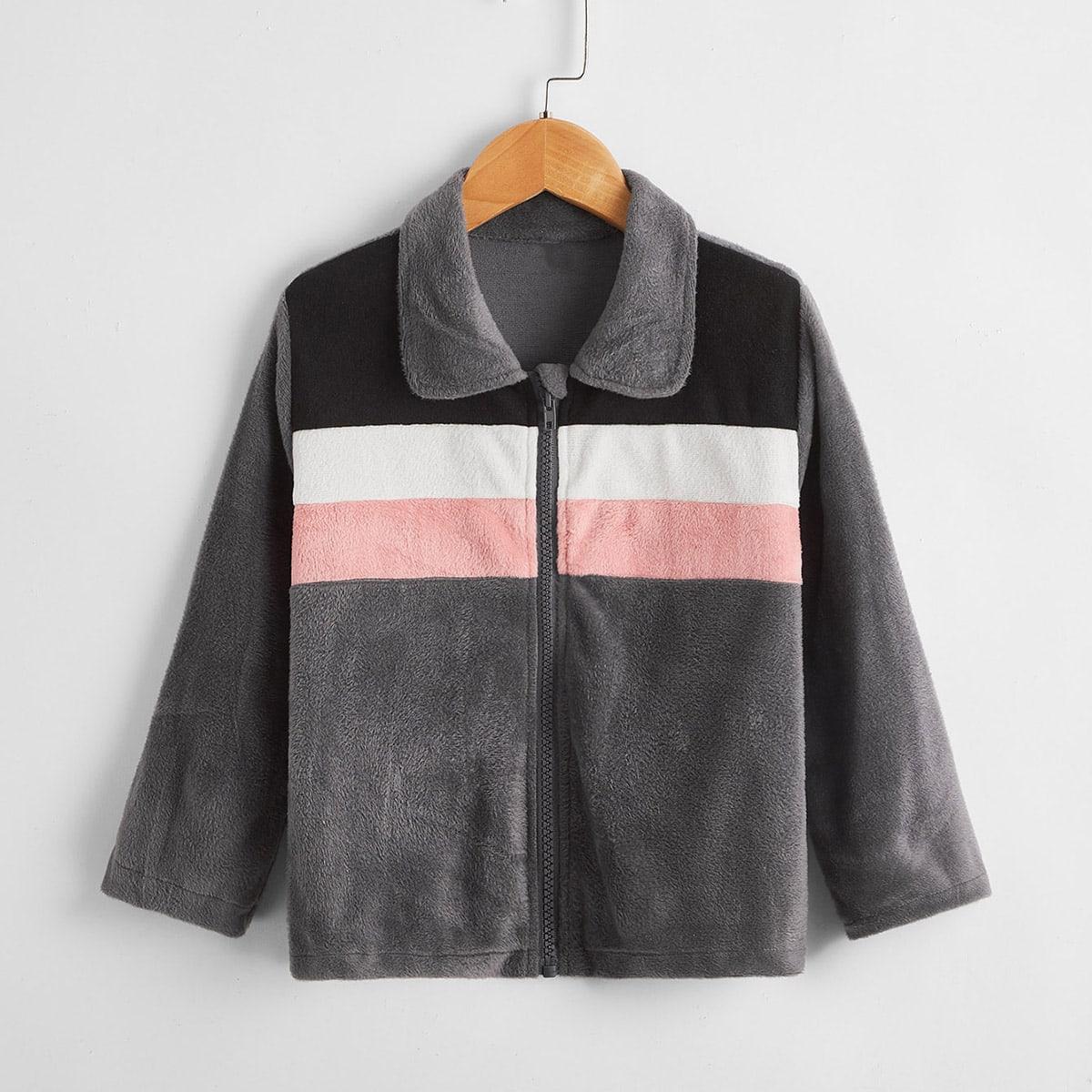 На молнии контрастный цвет повседневный куртки для девочек