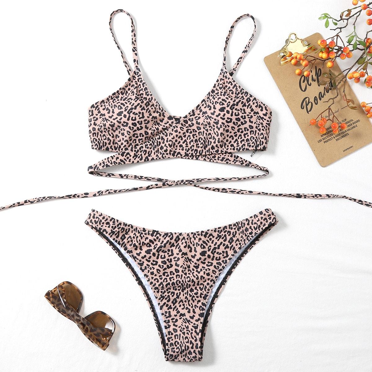 Allover Graphic Cross Bikini Swimsuit