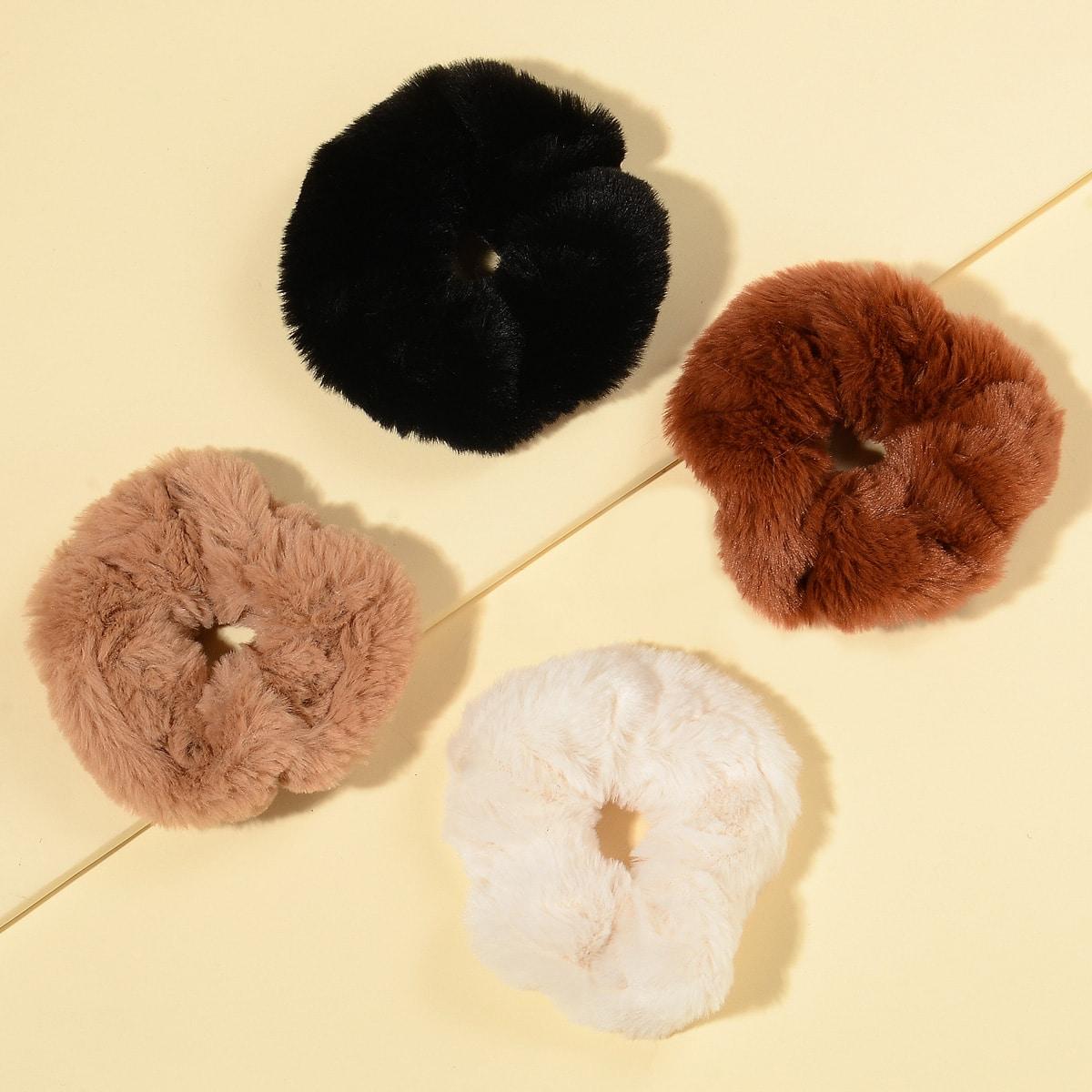 4шт плюшевая резинка для волос от SHEIN