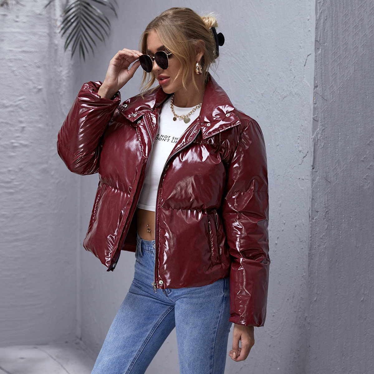 Pocket Front PU Leather Puffer Jacket