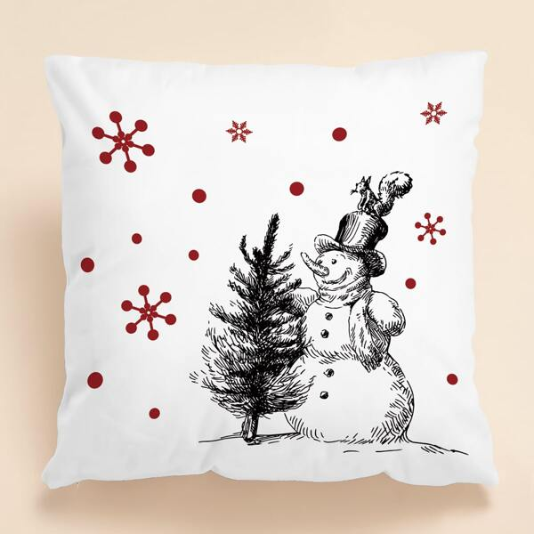 Christmas Snowman Print Cushion Cover Without Filler, White