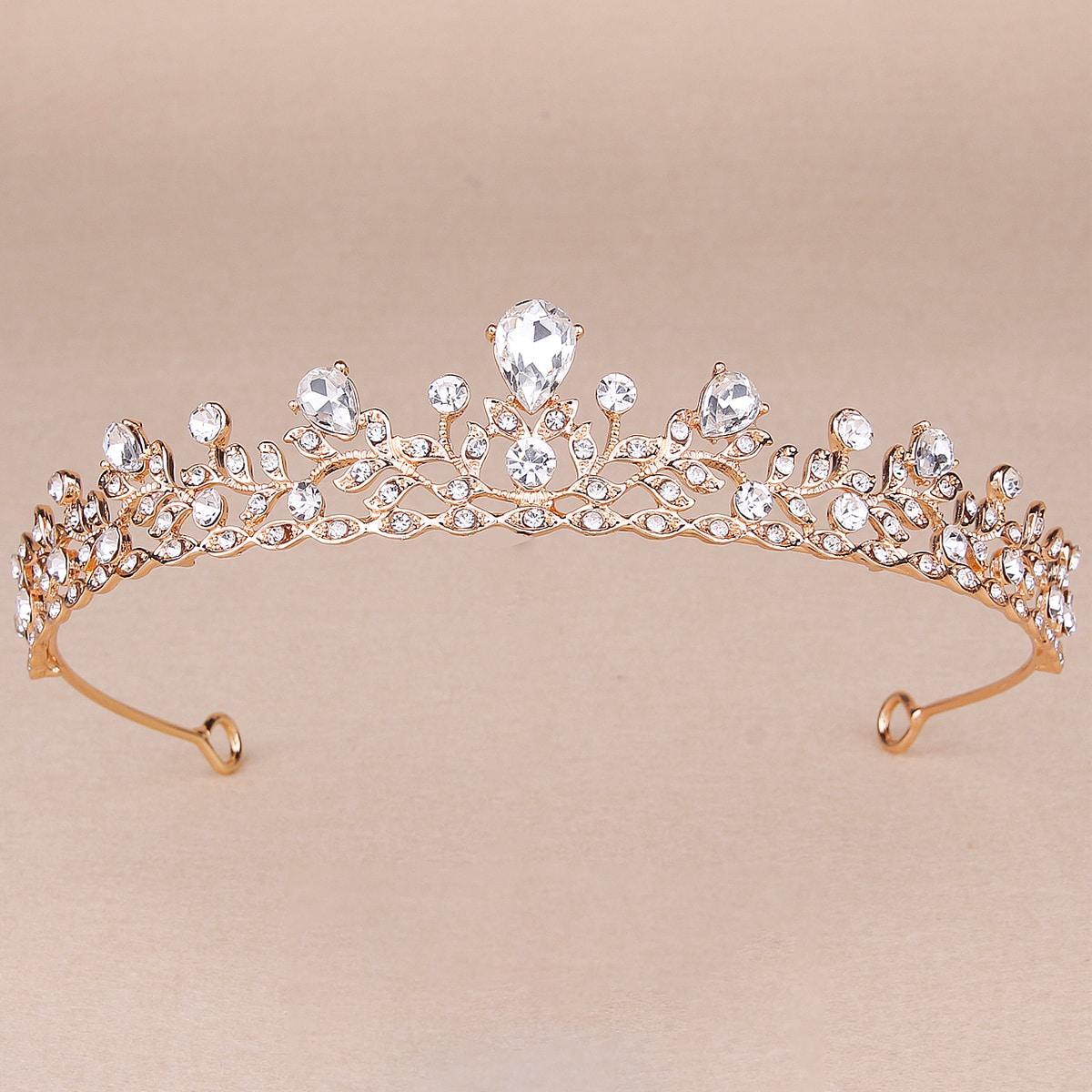 Rhinestone Decor Crown Design Hair Accessory
