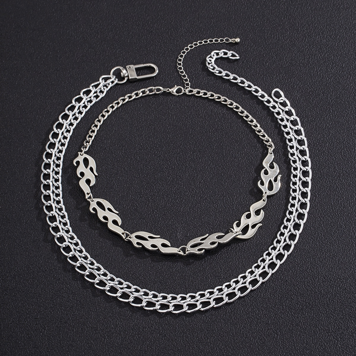 2 piezas collar de hombres con diseño de fuego