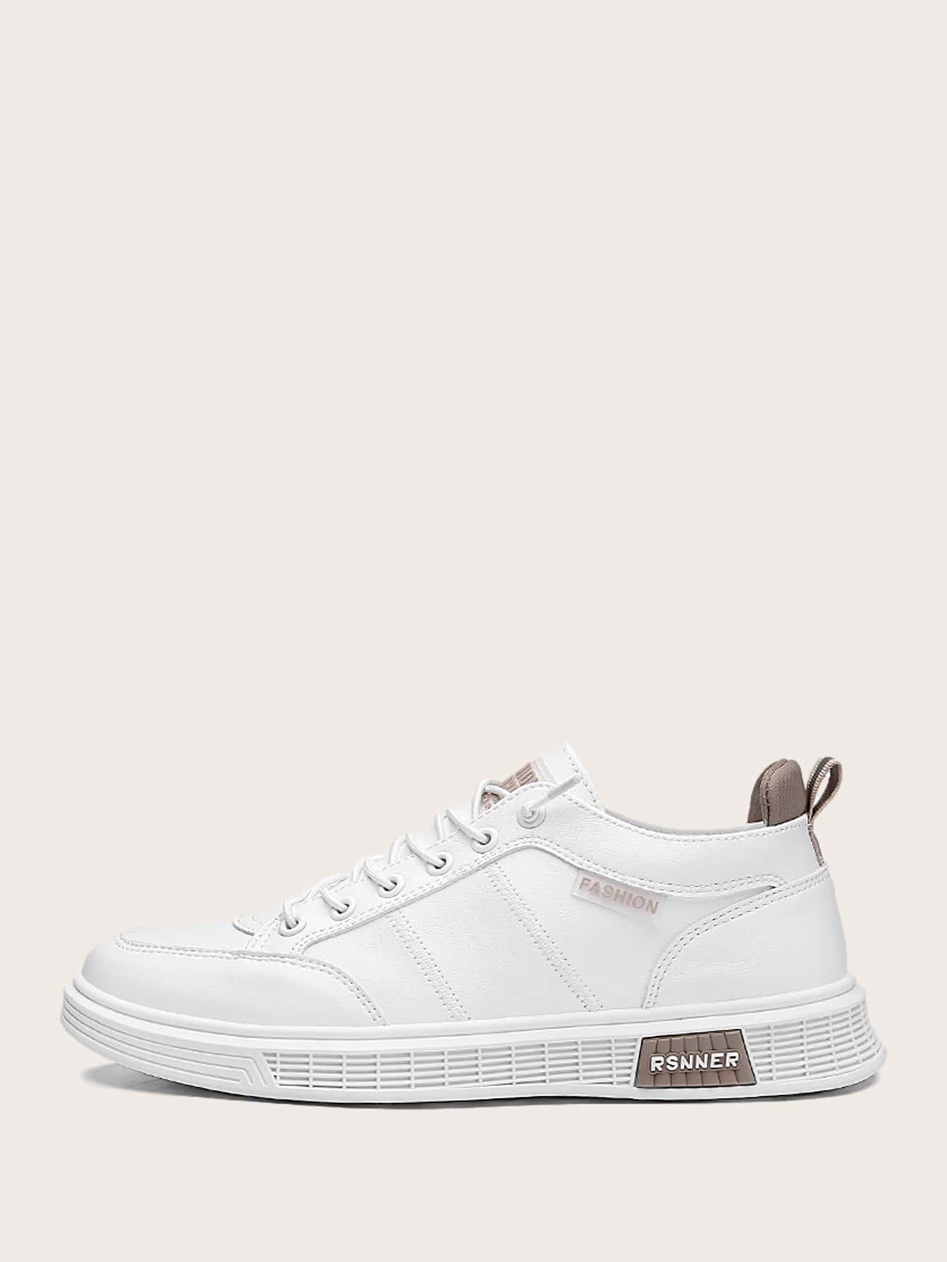 Men Lace-Up Front Stitch Detail Skate Shoes