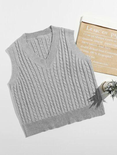 Plus Solid Cable Knit Sweater Vest