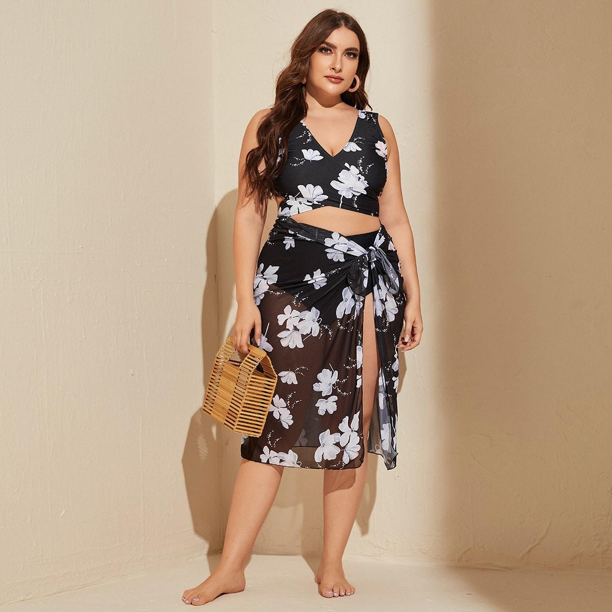 Сетчатая пляжная юбка и бикини размера плюс с цветочным принтом 3шт