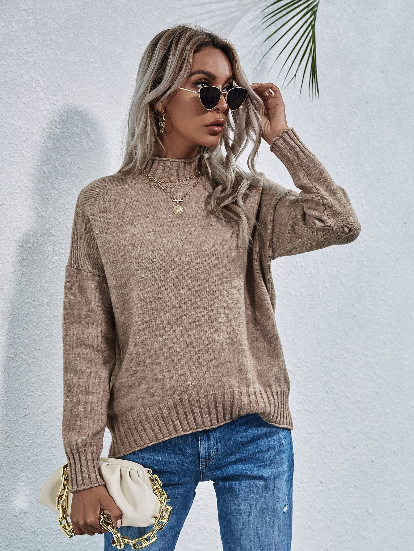 Solid Stand Collar Drop Shoulder Sweater thumbnail