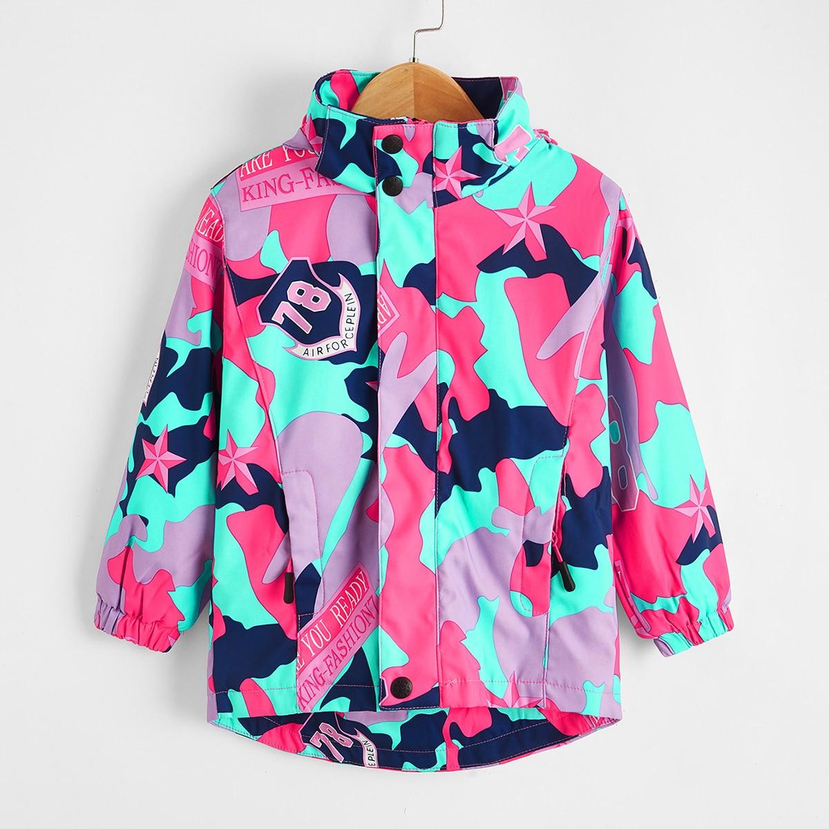 С карманами буква повседневный куртки для девочек