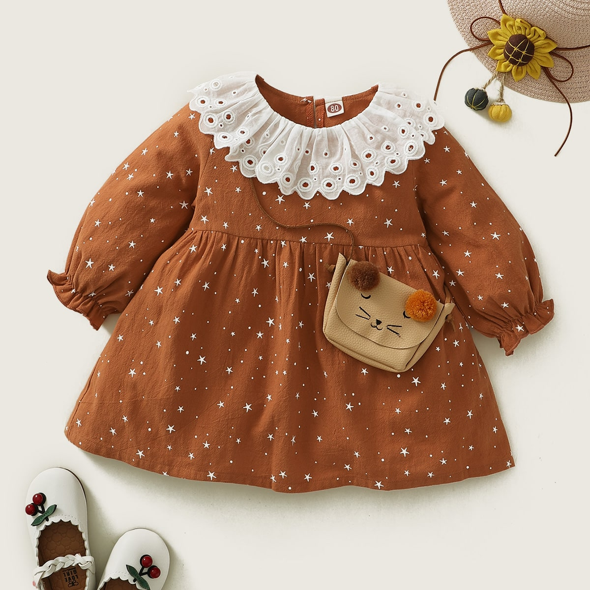 Платье в горошек с принтом звездыи и ажурной вышивкой для девочек от SHEIN