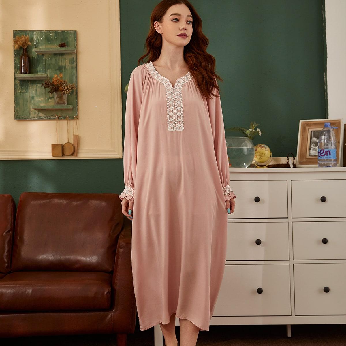 Контрастные кружева Контрастный цвет Королевский Ночная рубашка