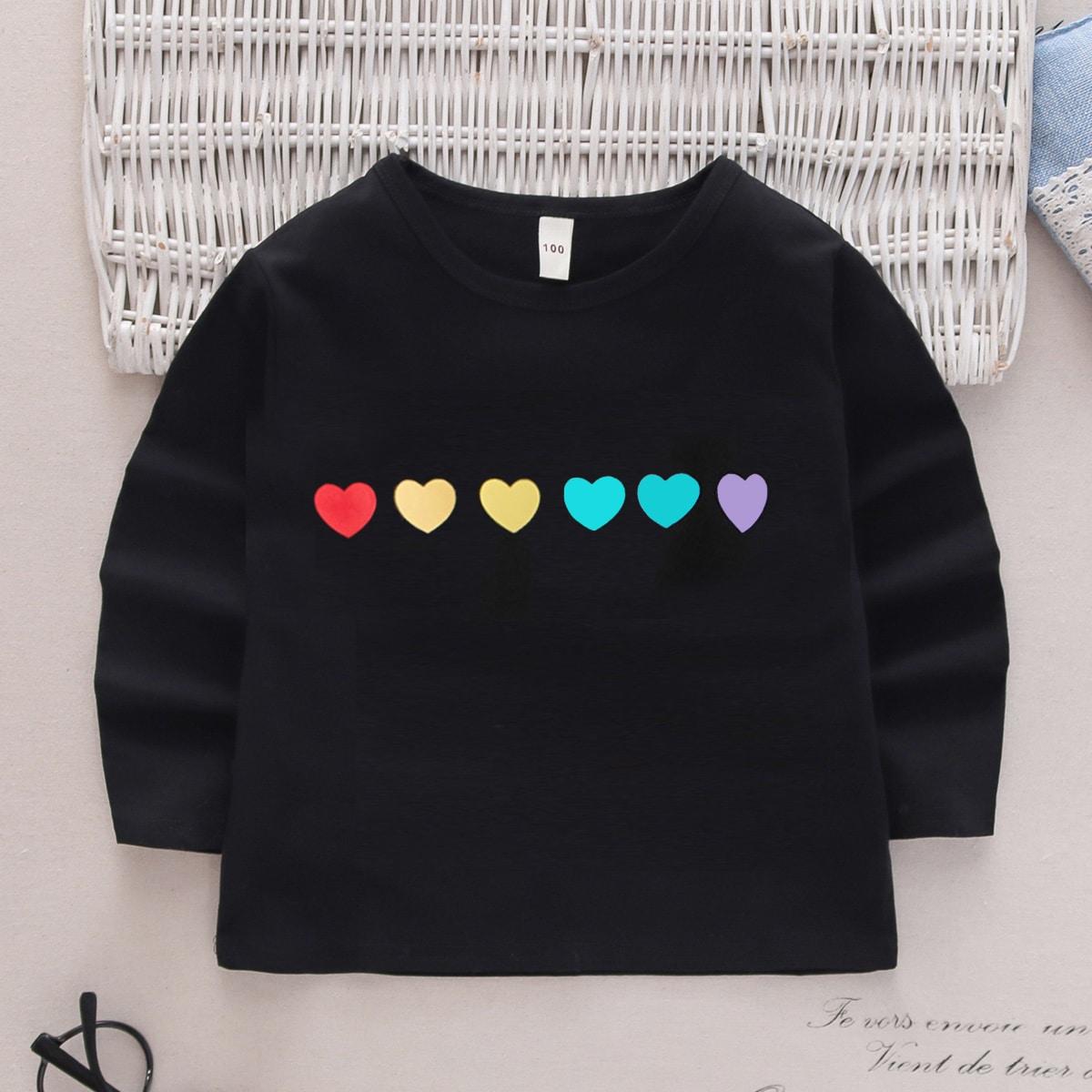 Сердечко повседневный футболки для маленьких девочек