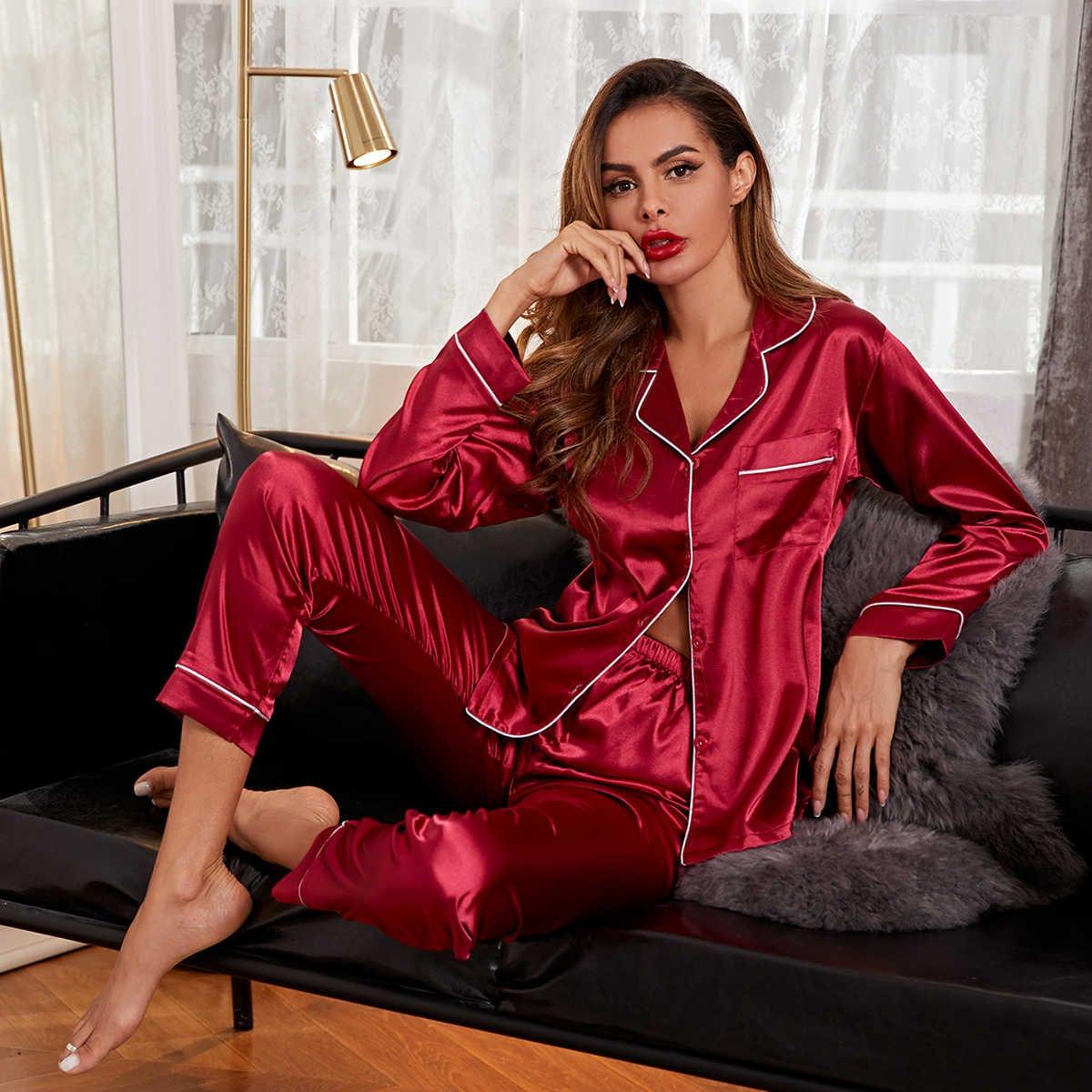 Пижама с контрастной отделкой и карманом