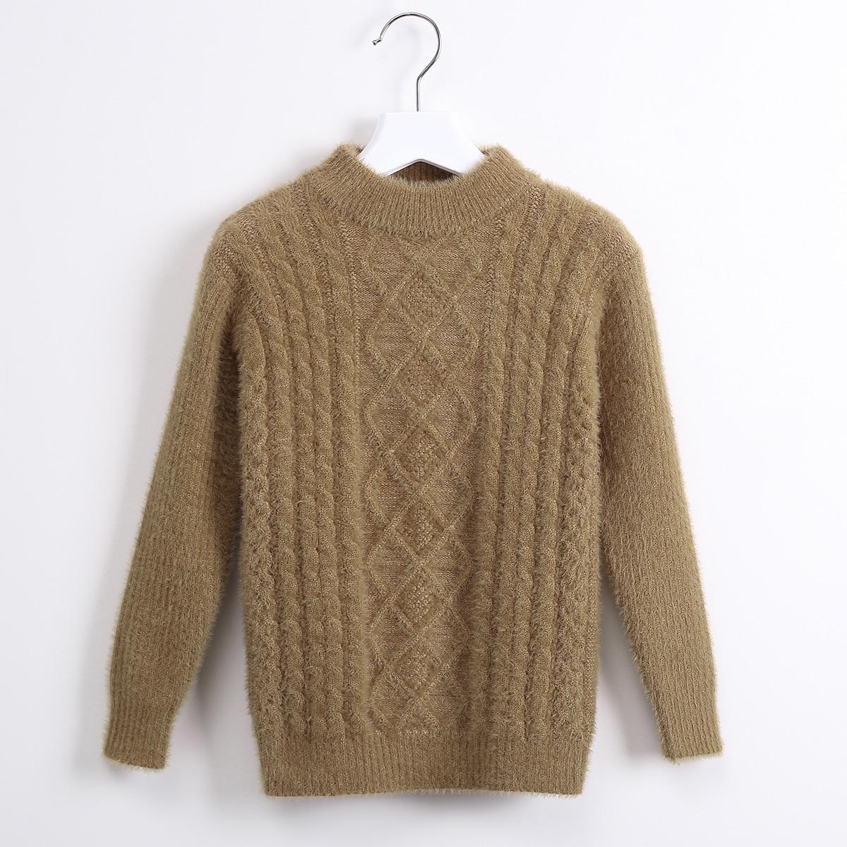 Трикотажный одноцветный повседневный свитера для девочек