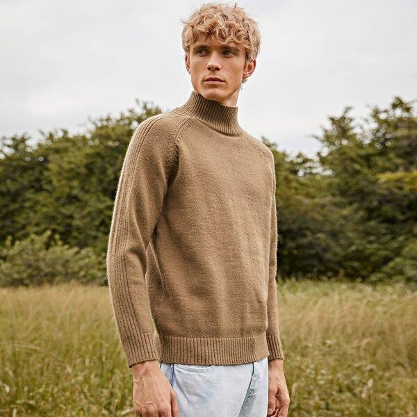 Men High Neck Raglan Sleeve Sweater, Camel