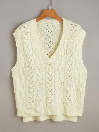 Plus V-neck Knit Top