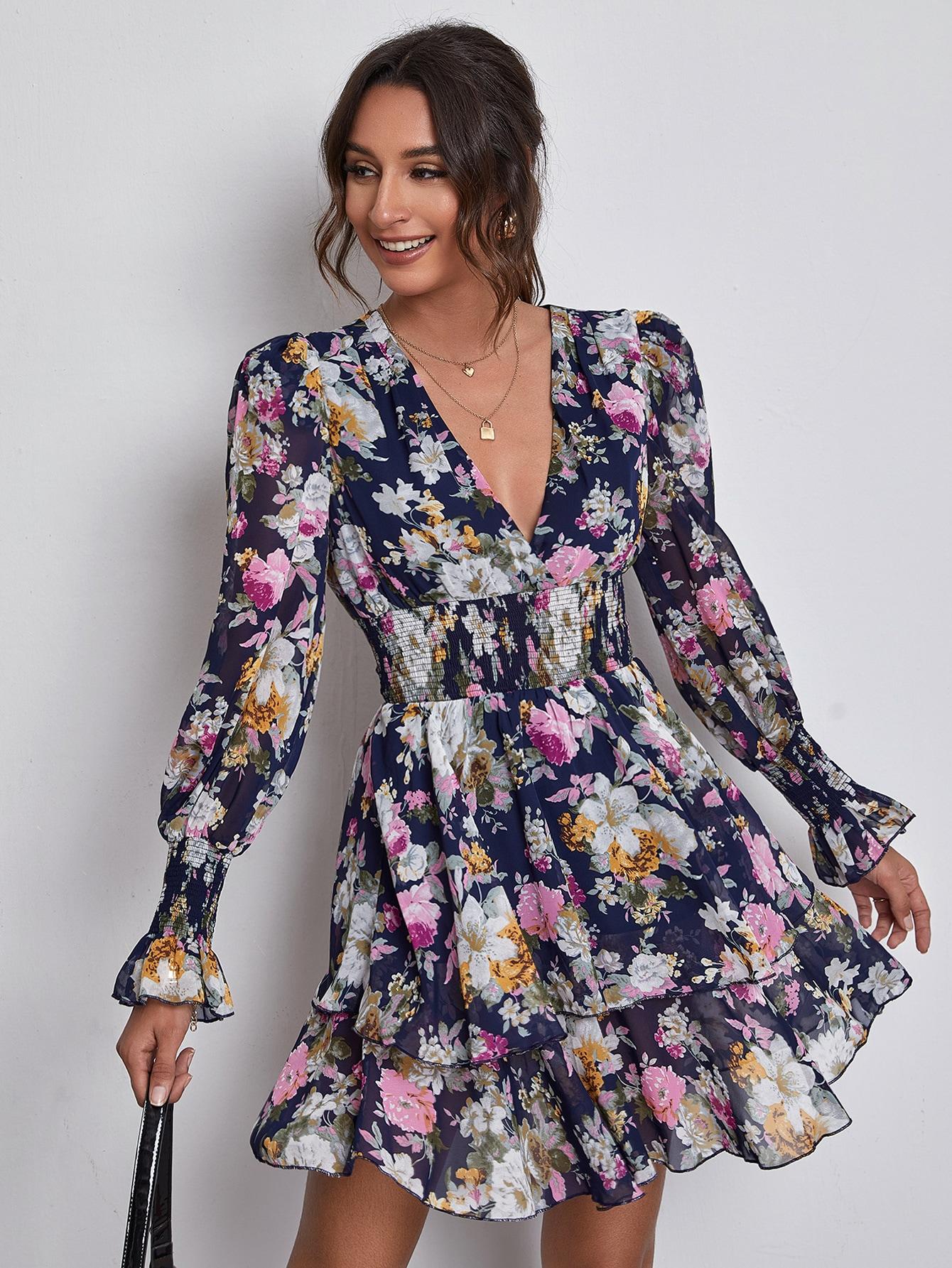 V-neck Shirred Detail Layered Floral Dress thumbnail