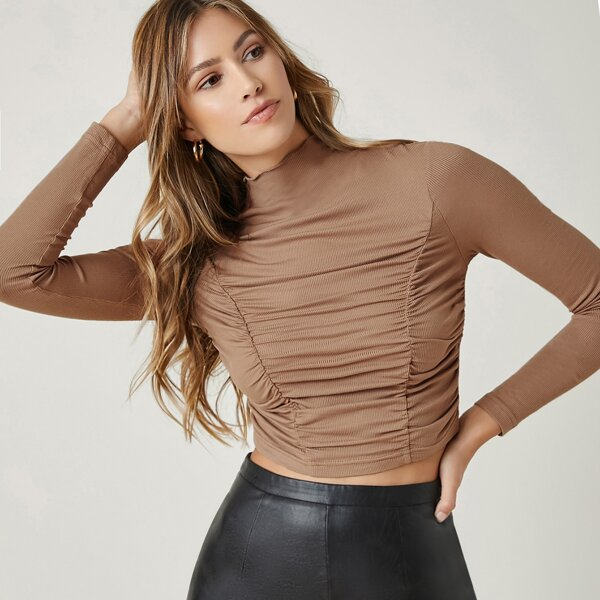 Mock Neck Ruched Detail Crop Tee, Apricot