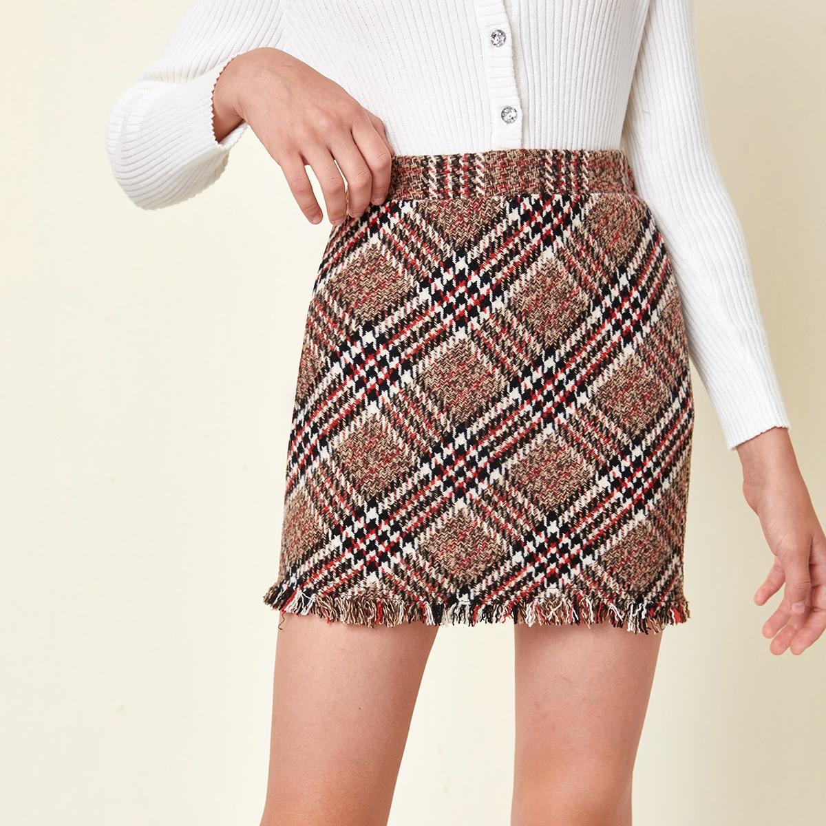 На молнии клетчатый институтский юбки для девочек