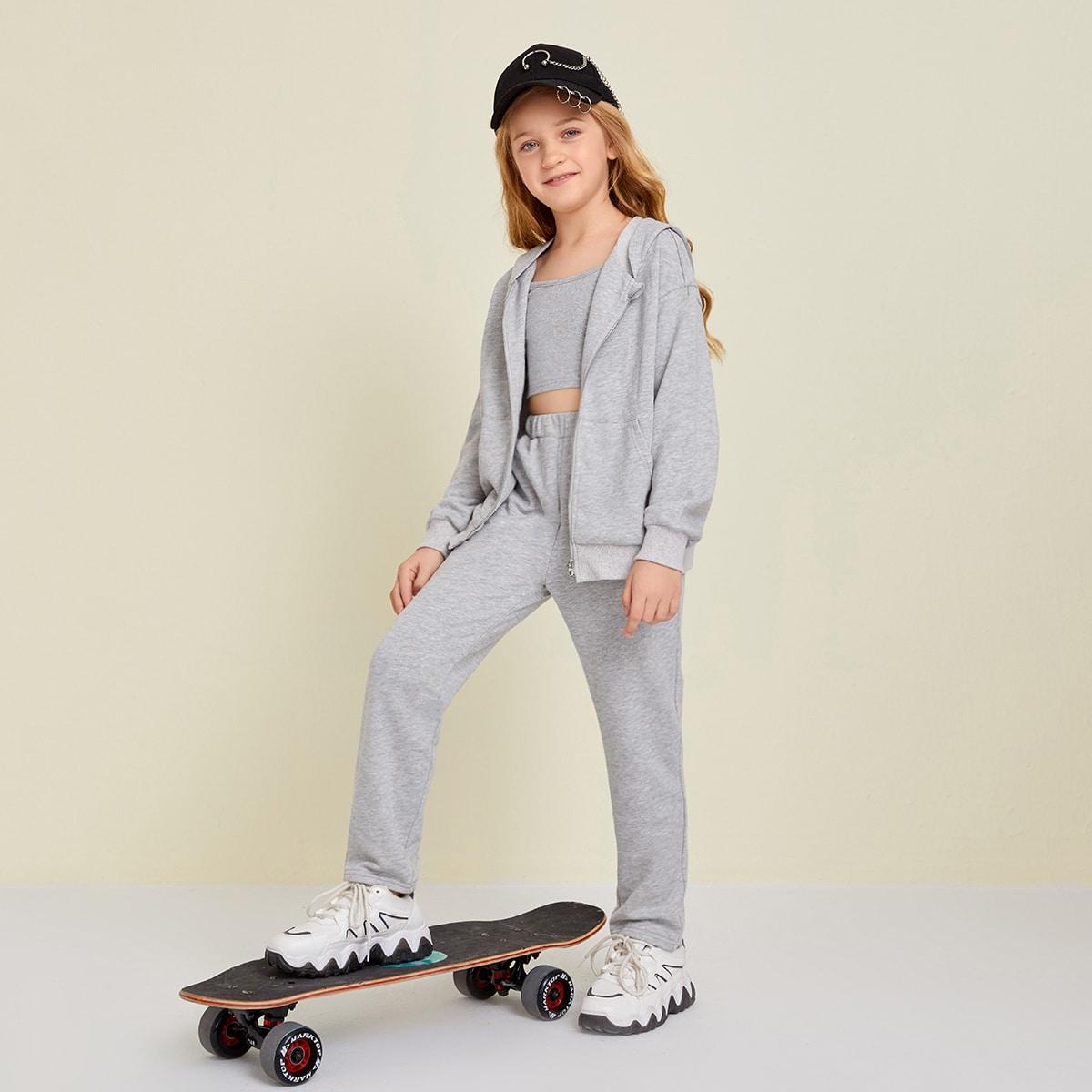 Карман ровный цвет спортивный комплекты для девочек