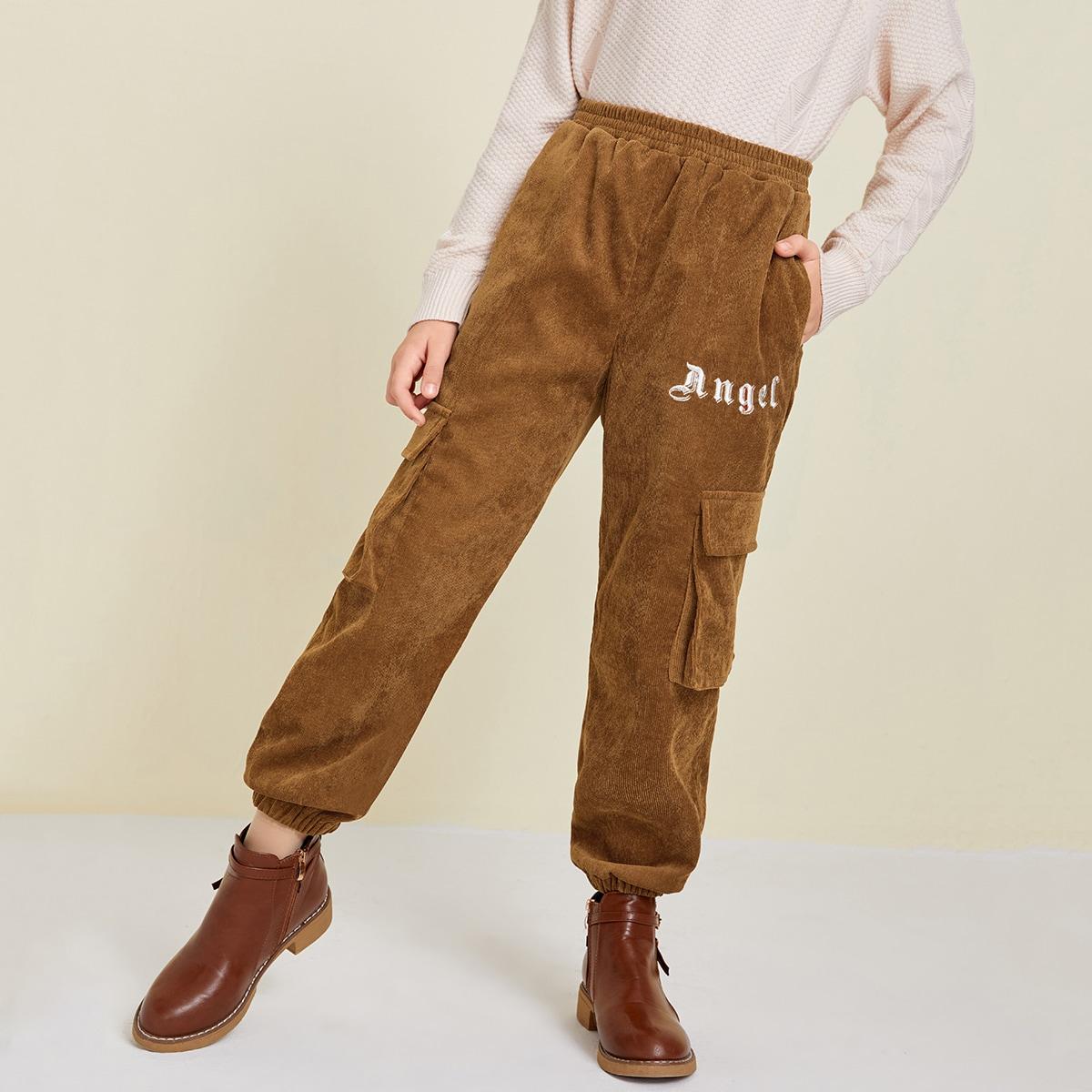 Карман буква повседневный брюки для девочек