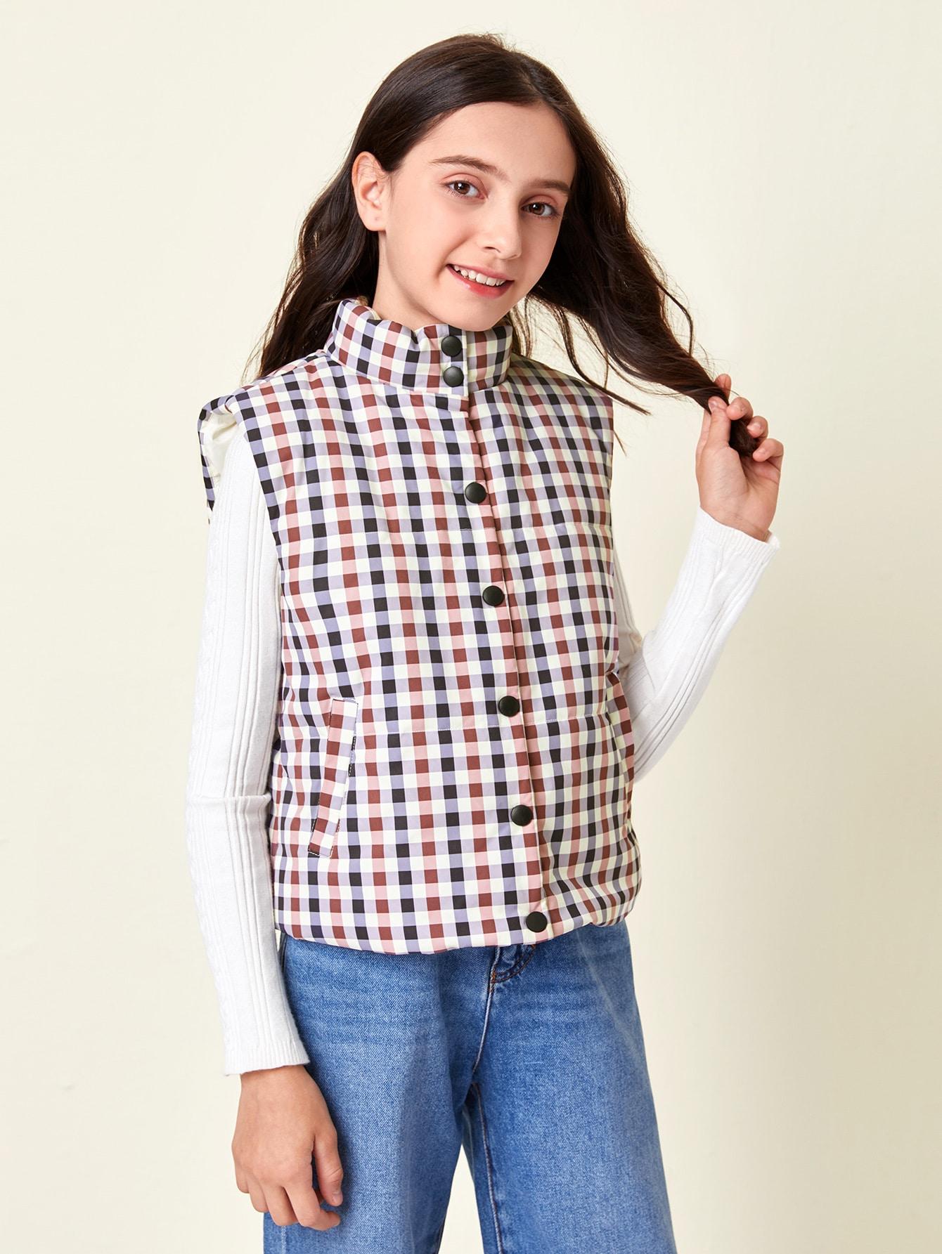 girls button up plaid vest jacket