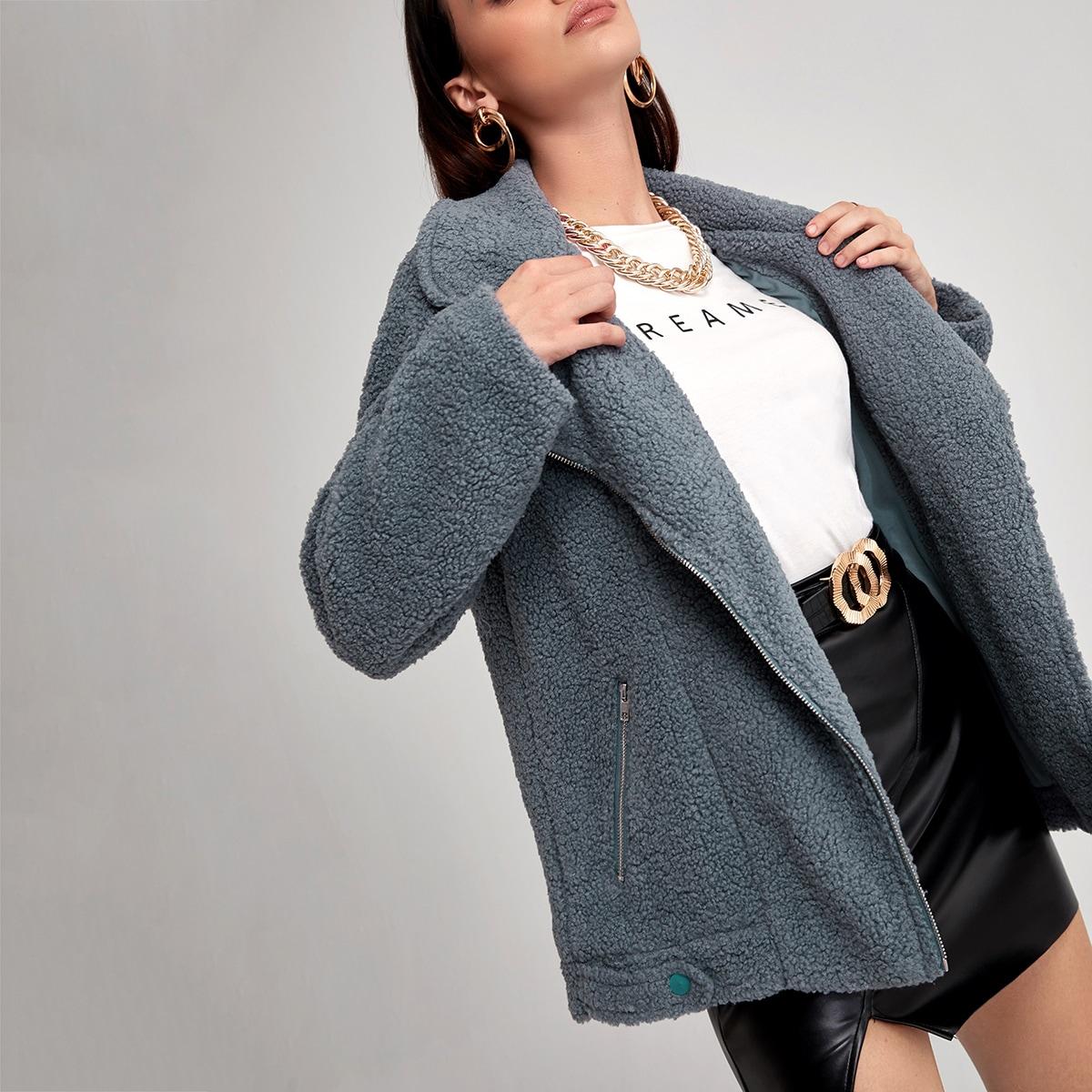 Плюшевое пальто на молнии с лацканми