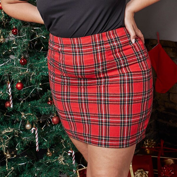 Plus Tartan Print High Waisted Skirt, Red