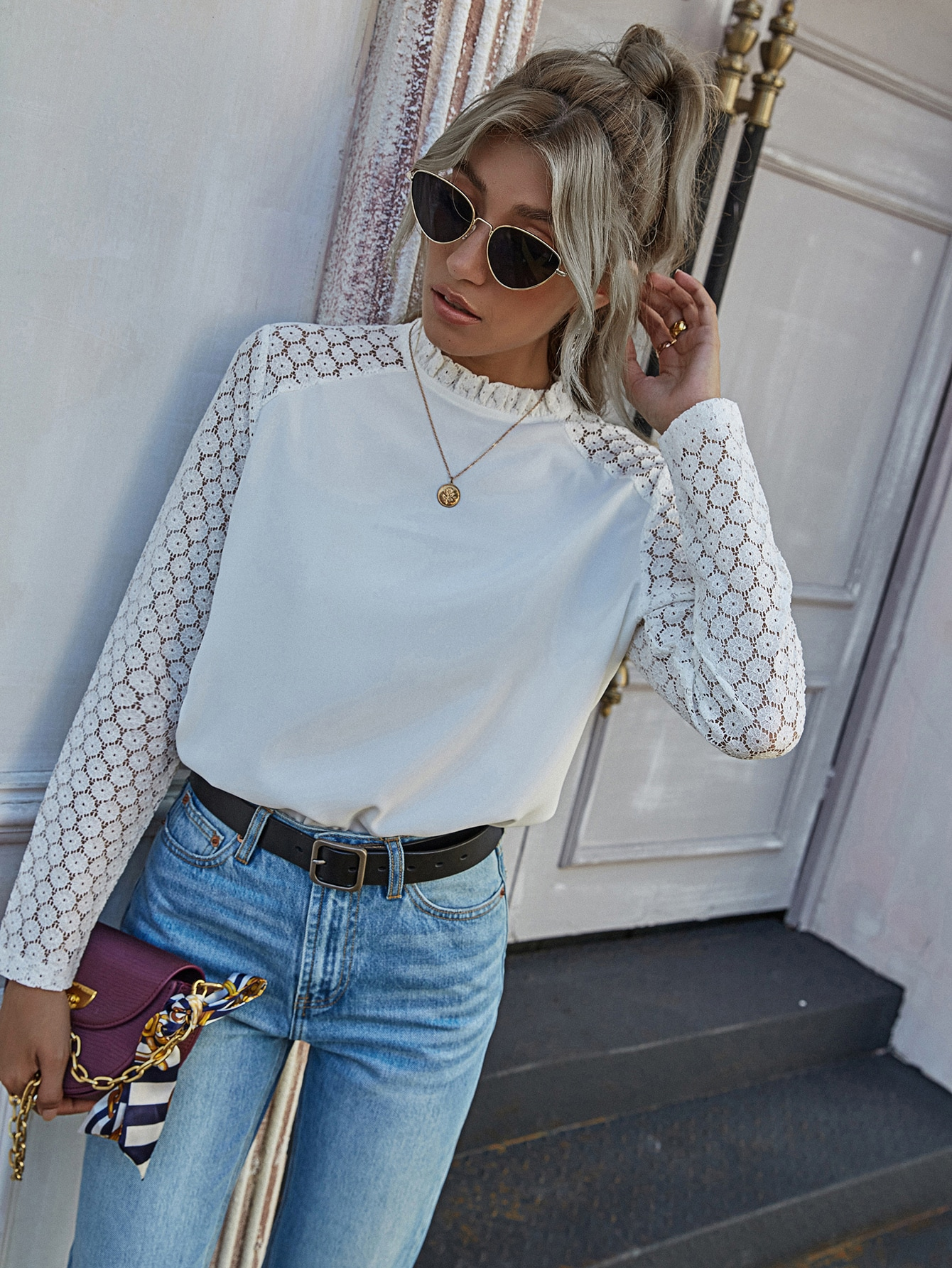 Frill Neck Contrast Lace Sleeve Blouse thumbnail