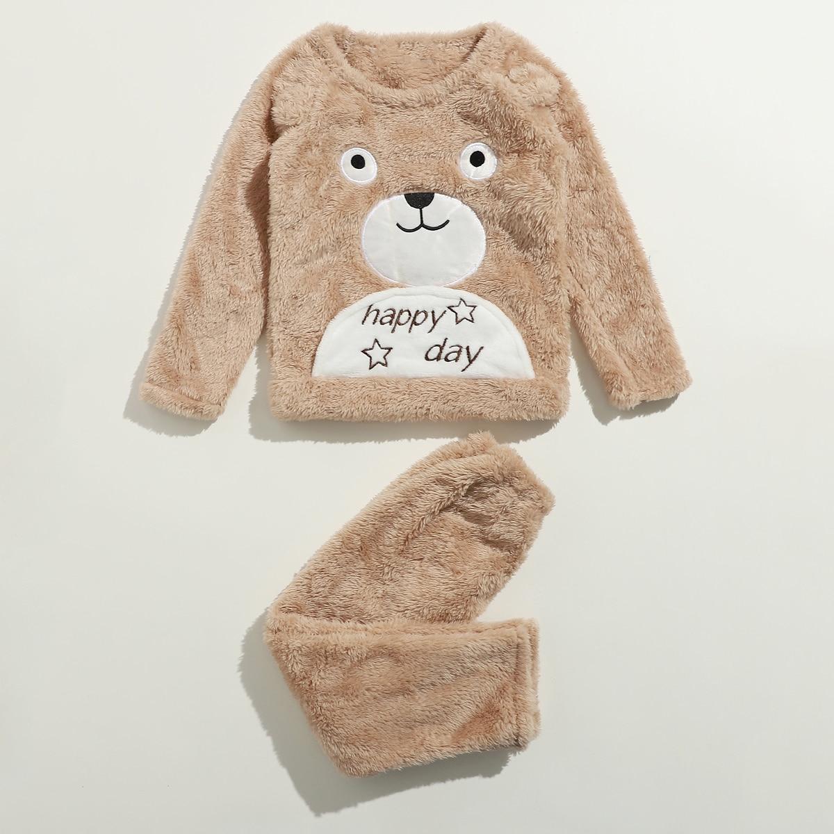 Фланелевая пижама с текстовой и мультипликационной вышивкой для мальчиков