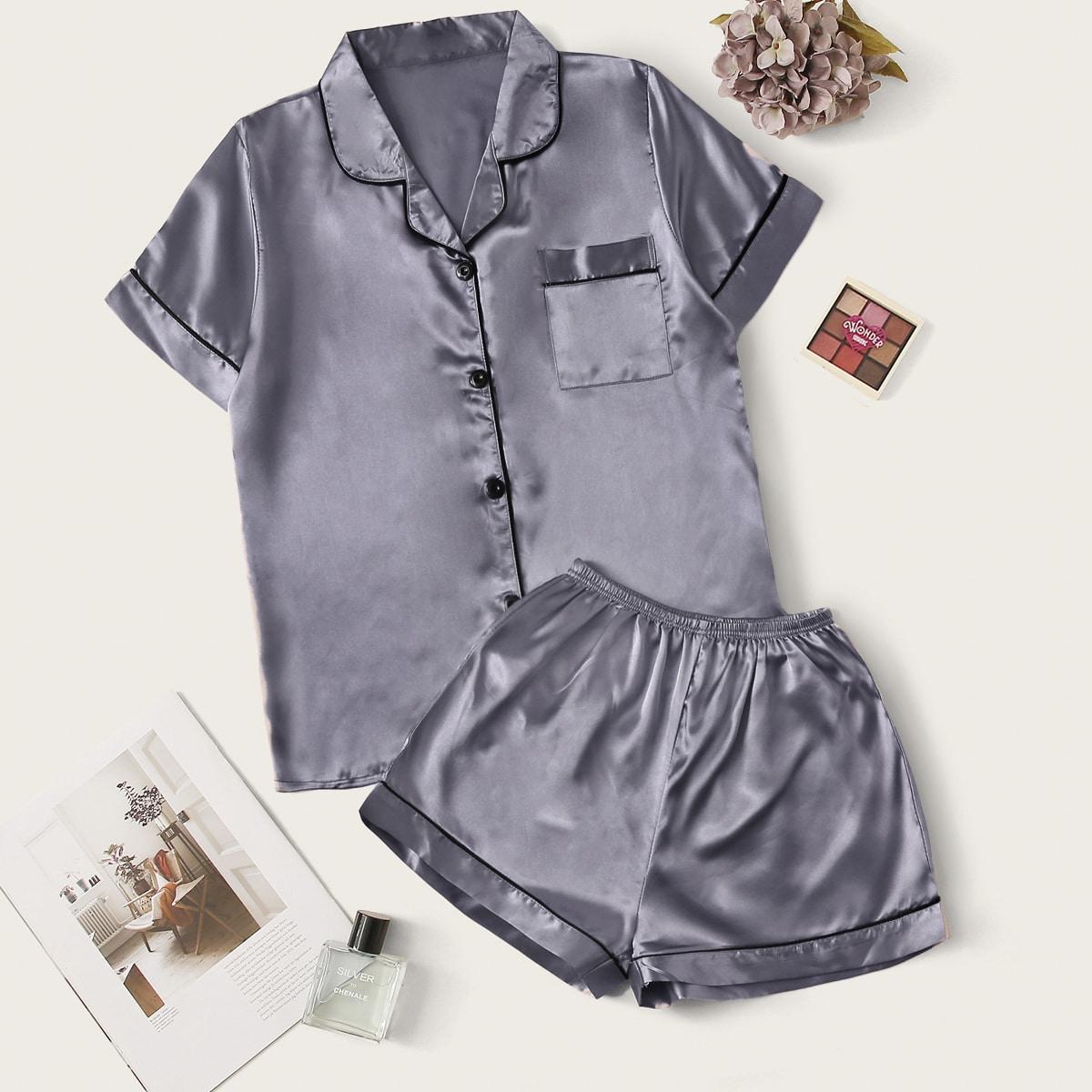 Контрастая атласная пижама с карманом