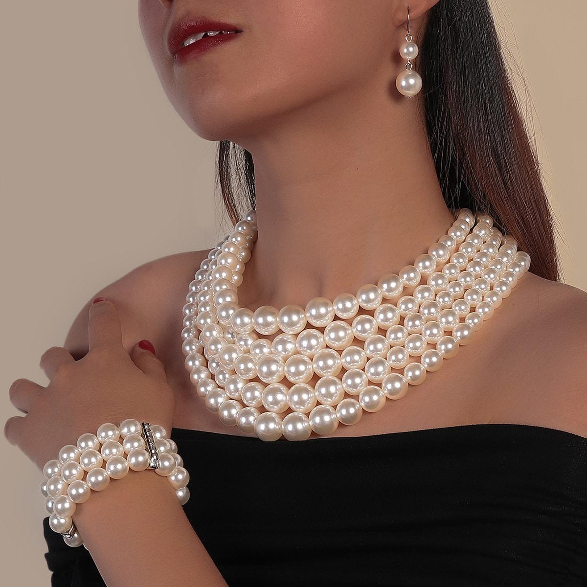 1 Stück Halskette & 1 Stück Armband & 1 Paar Ohrringe mit Kunstperlen Dekor
