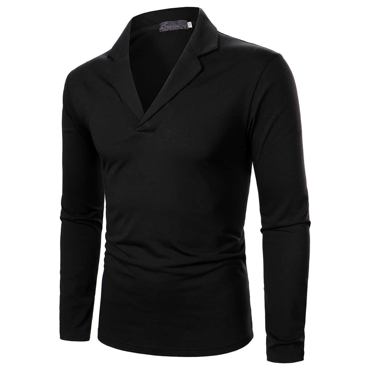 Мужская рубашка-поло с лацканами