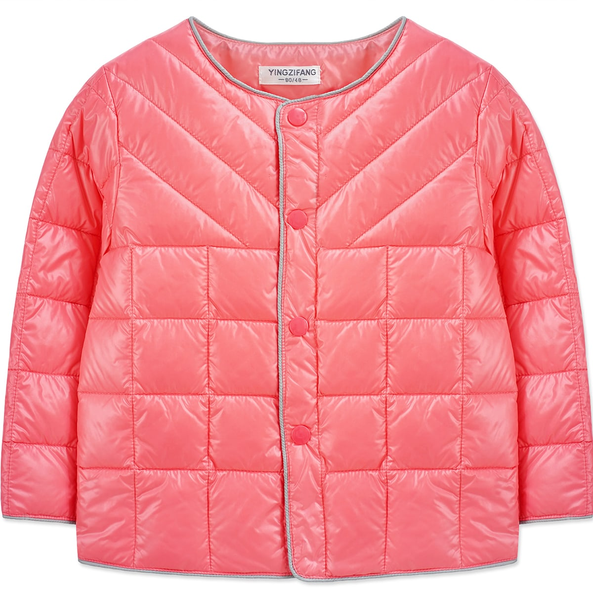 Однобортный одноцветный повседневный пальто для маленьких девочек