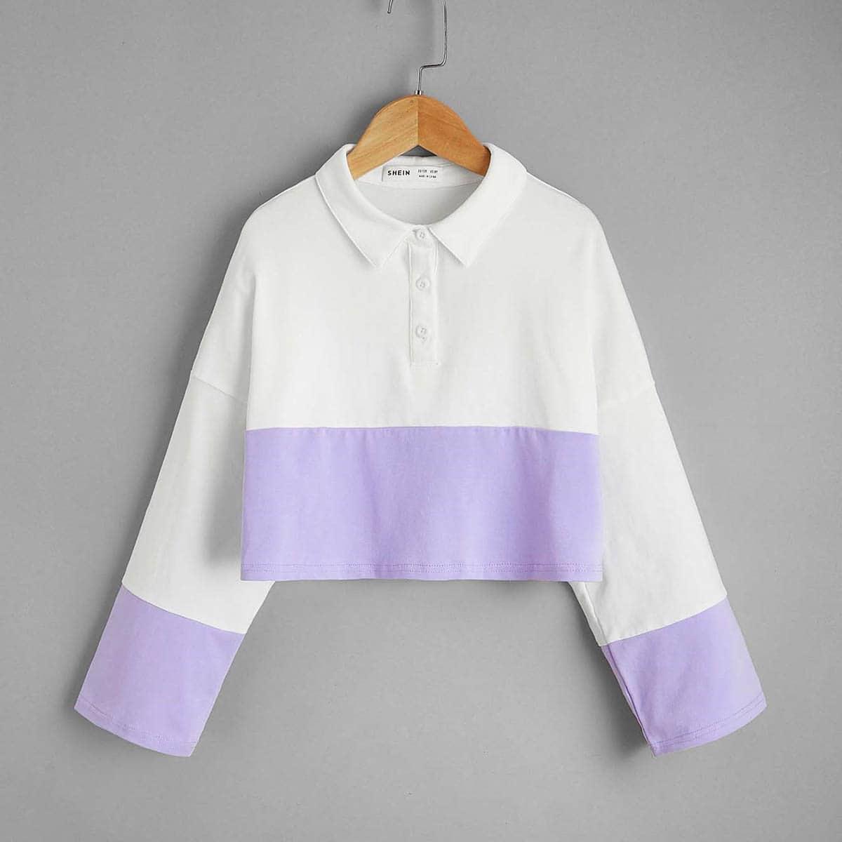Однобортный контрастный цвет повседневный футболки для девочек