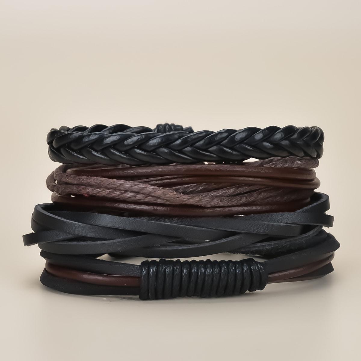 Плетеный браслет из искусственной кожи 4шт