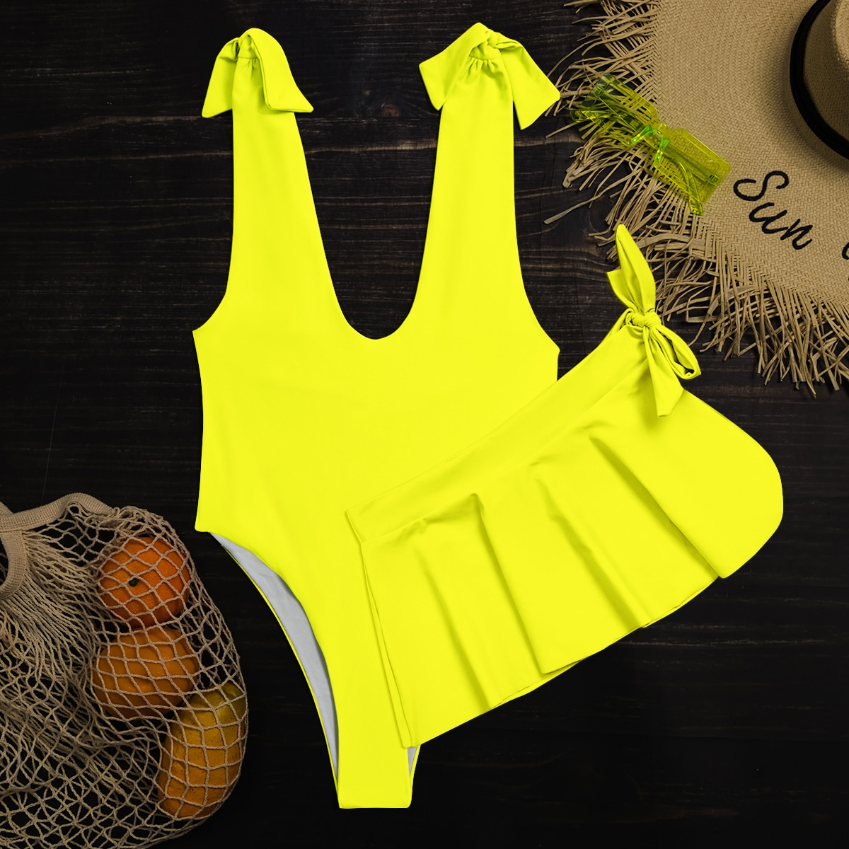 2pack Neon Yellow One Piece Swimsuit With Skirt