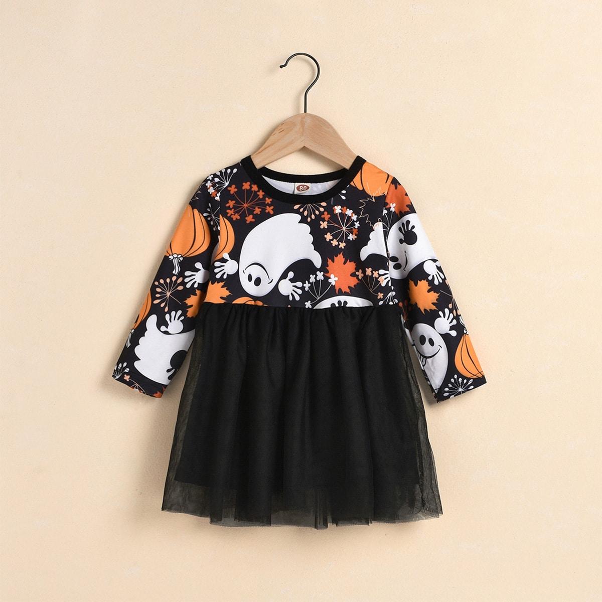 """Контрастное сетчатое платье с принтом """"хэллоуин"""" для девочек"""