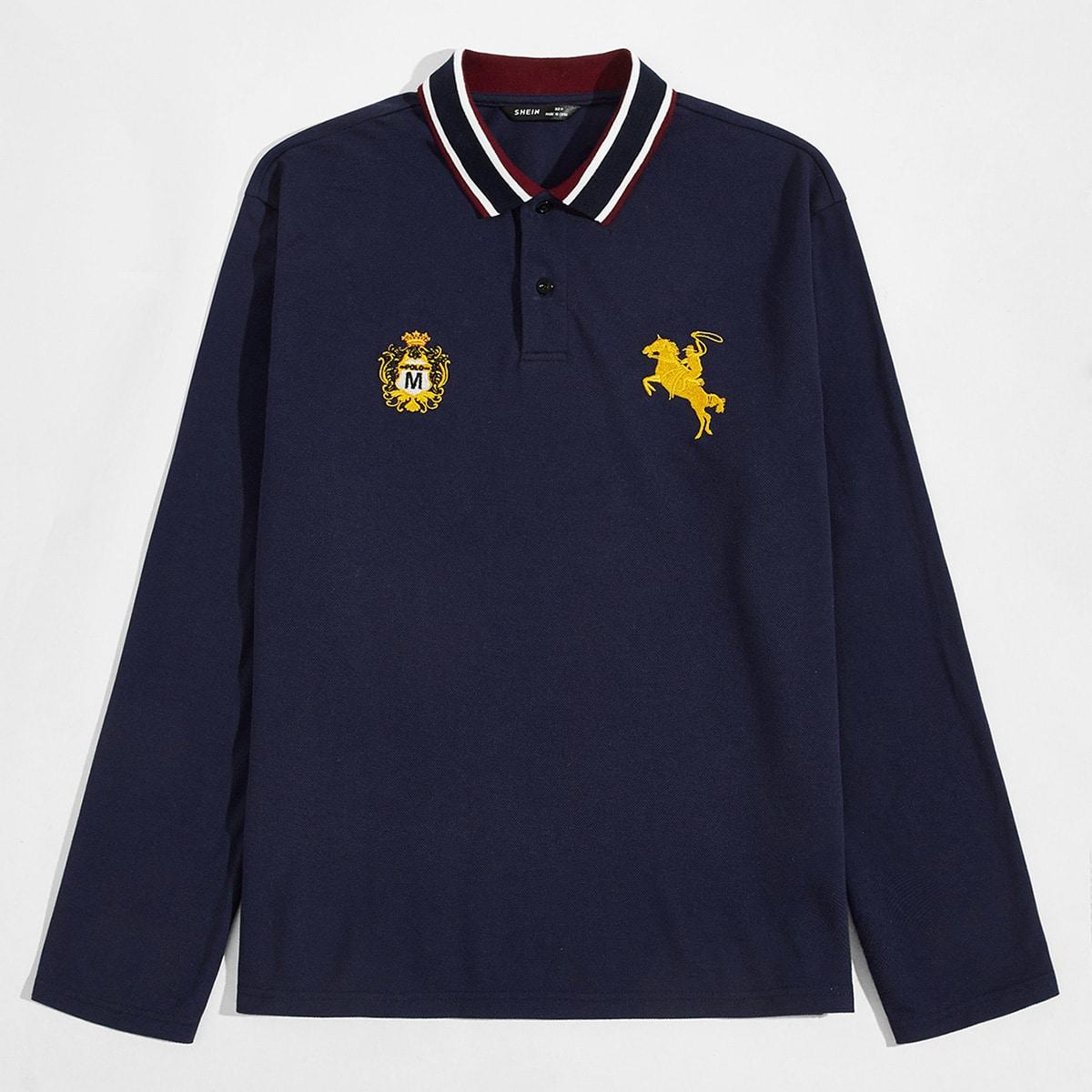 Вышивка графический институтский мужская рубашка-поло