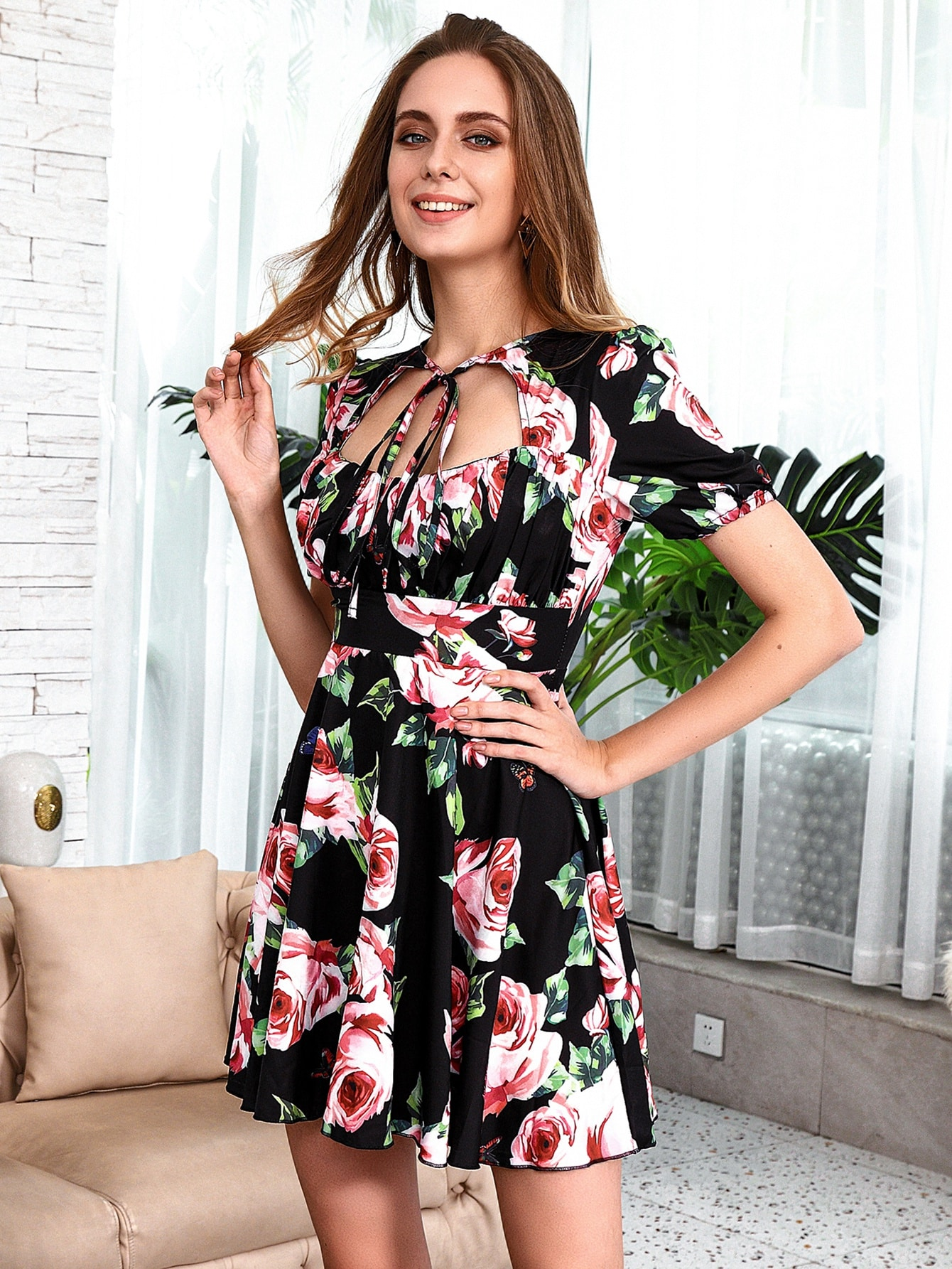 HouseOfChic Tie Neck Cut-out Ruched Bust Floral Skater Dress thumbnail