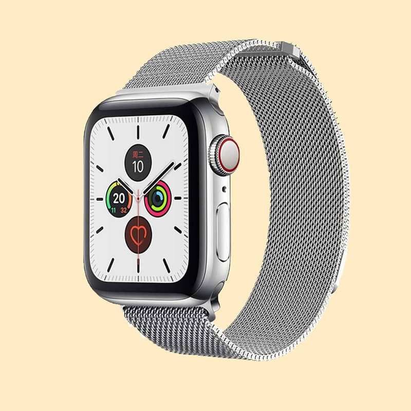1pc Stainless Steel Apple Watch Band, Silver