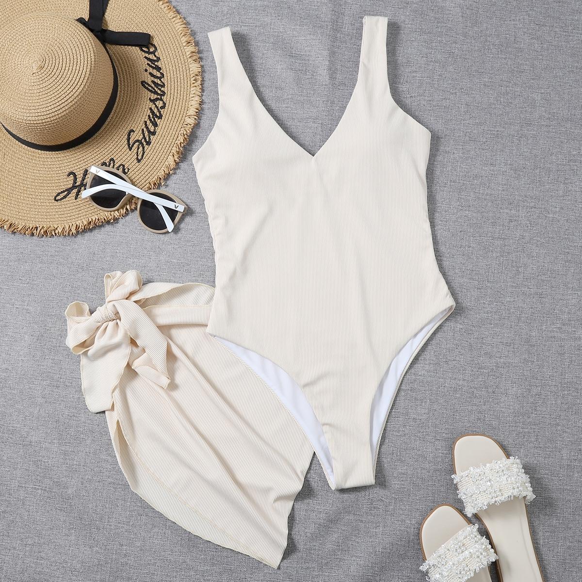 Слитный купальник в рубчик и пляжная юбка 2шт