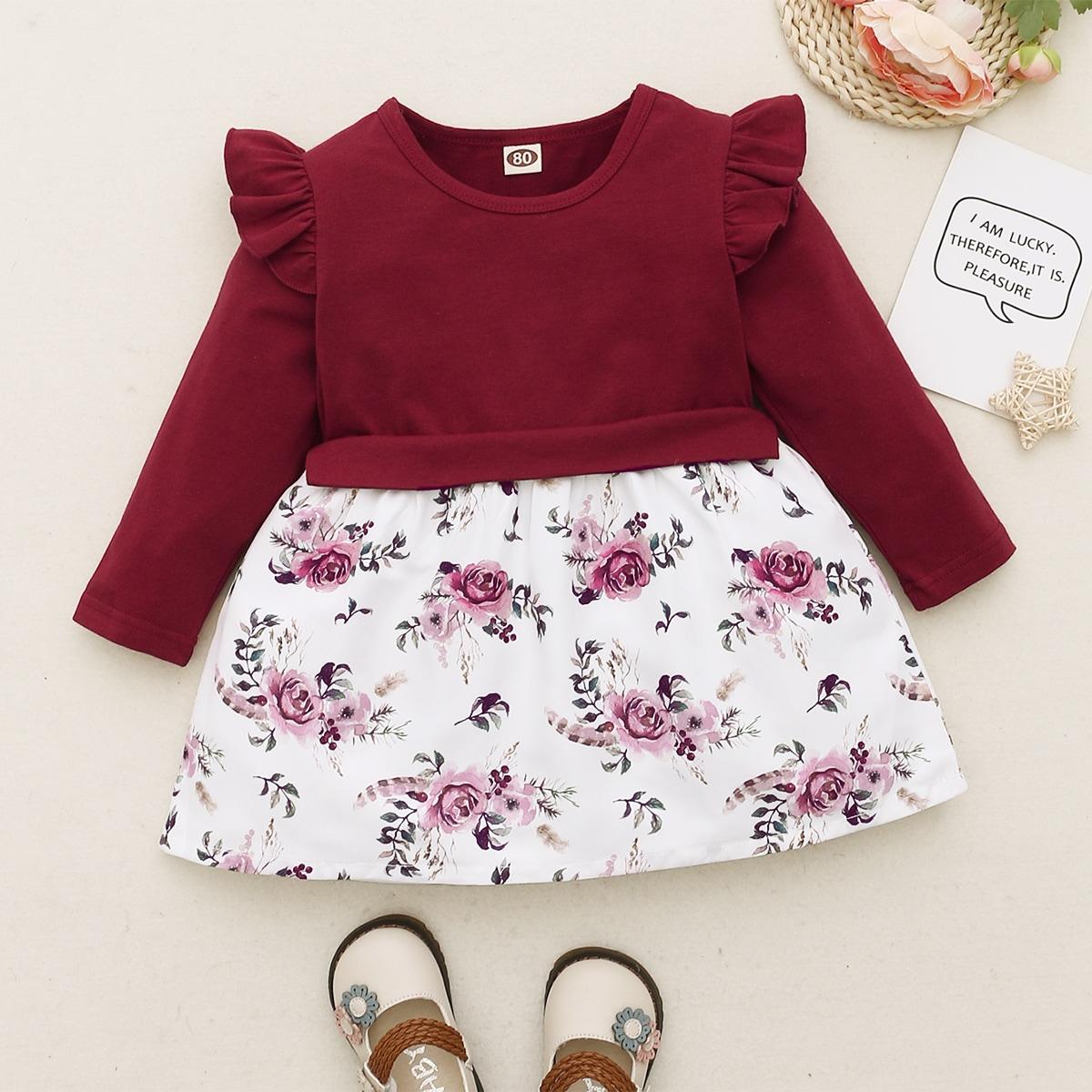 SHEIN Casual Bloemen Baby-jurk Rimpeling