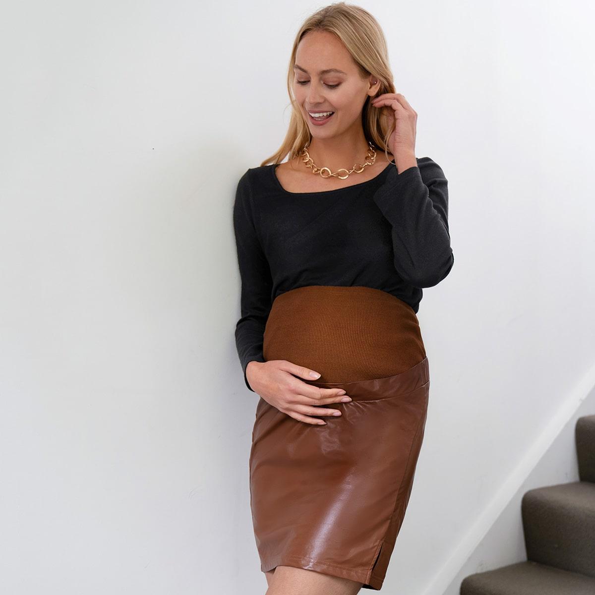 Юбка из искусственной кожи с высокой талией для беременных