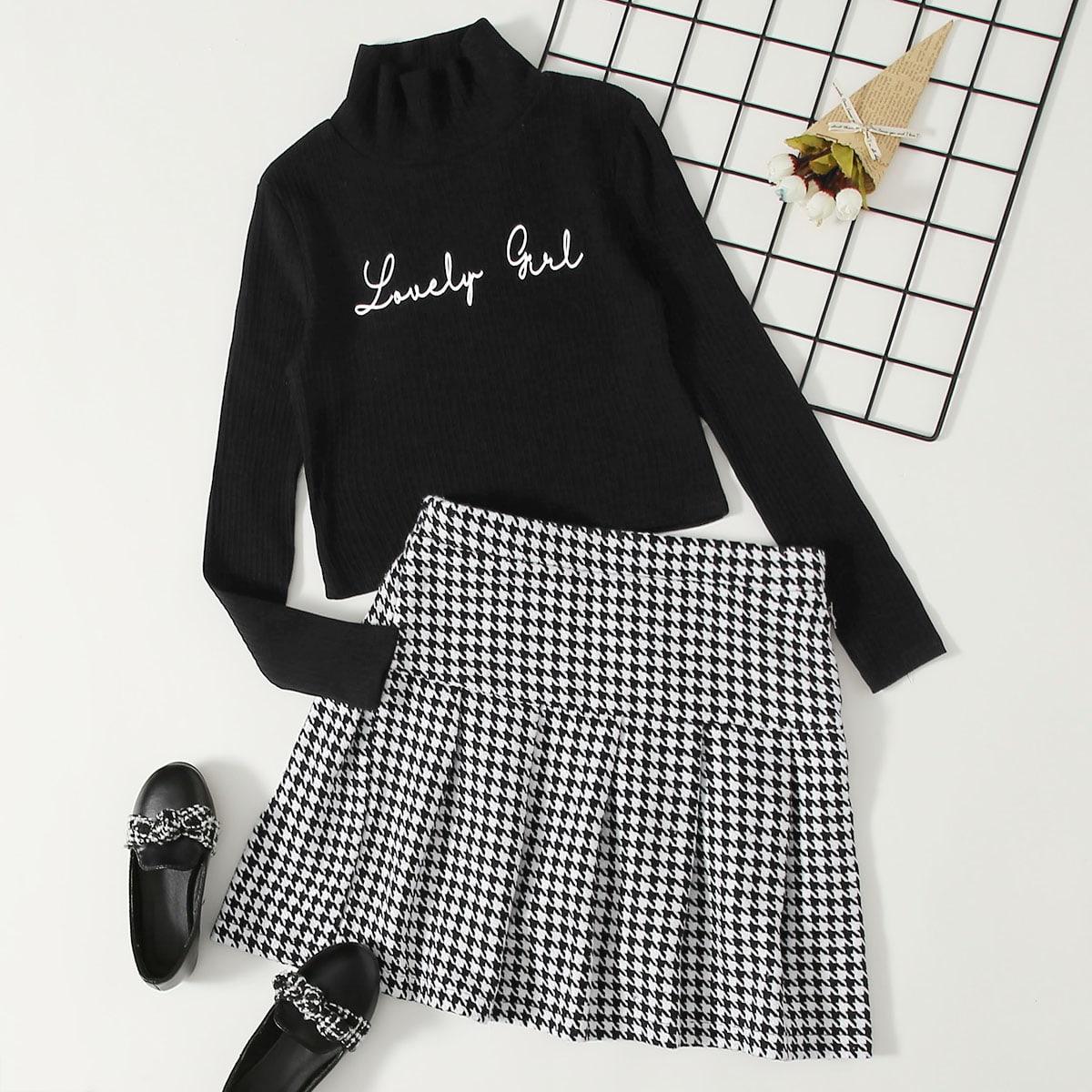 Трикотажная футболка с текстовым принтом и твидовая плиссированная юбка с рисунком